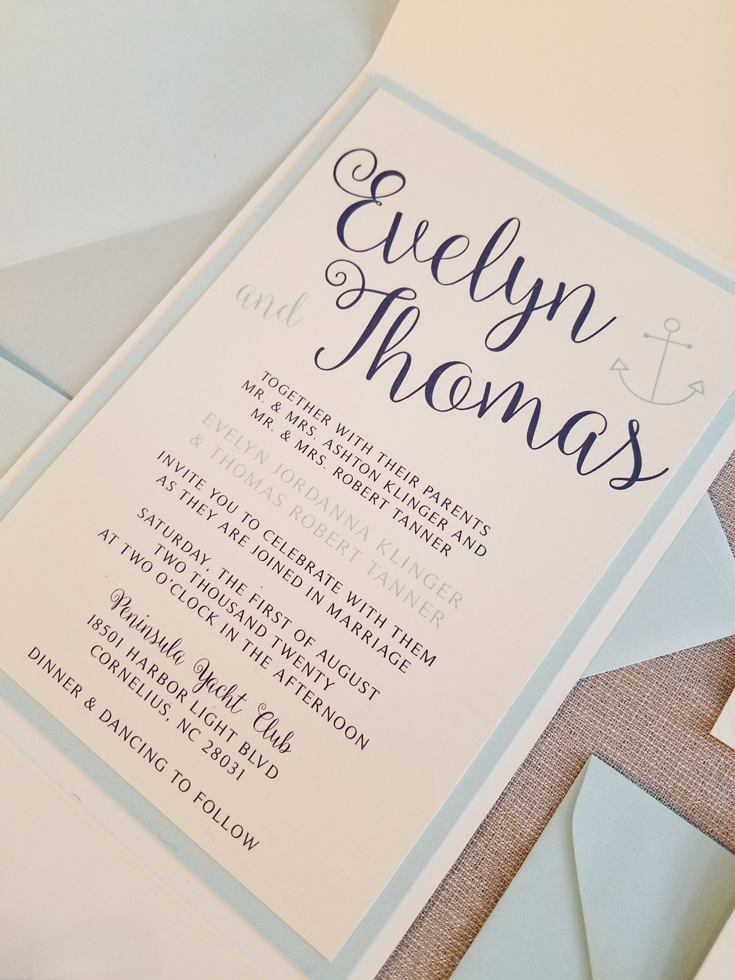 Nautical Wedding Invitations.Anchors Away Custom Fold Nautical Wedding Invitation Sample