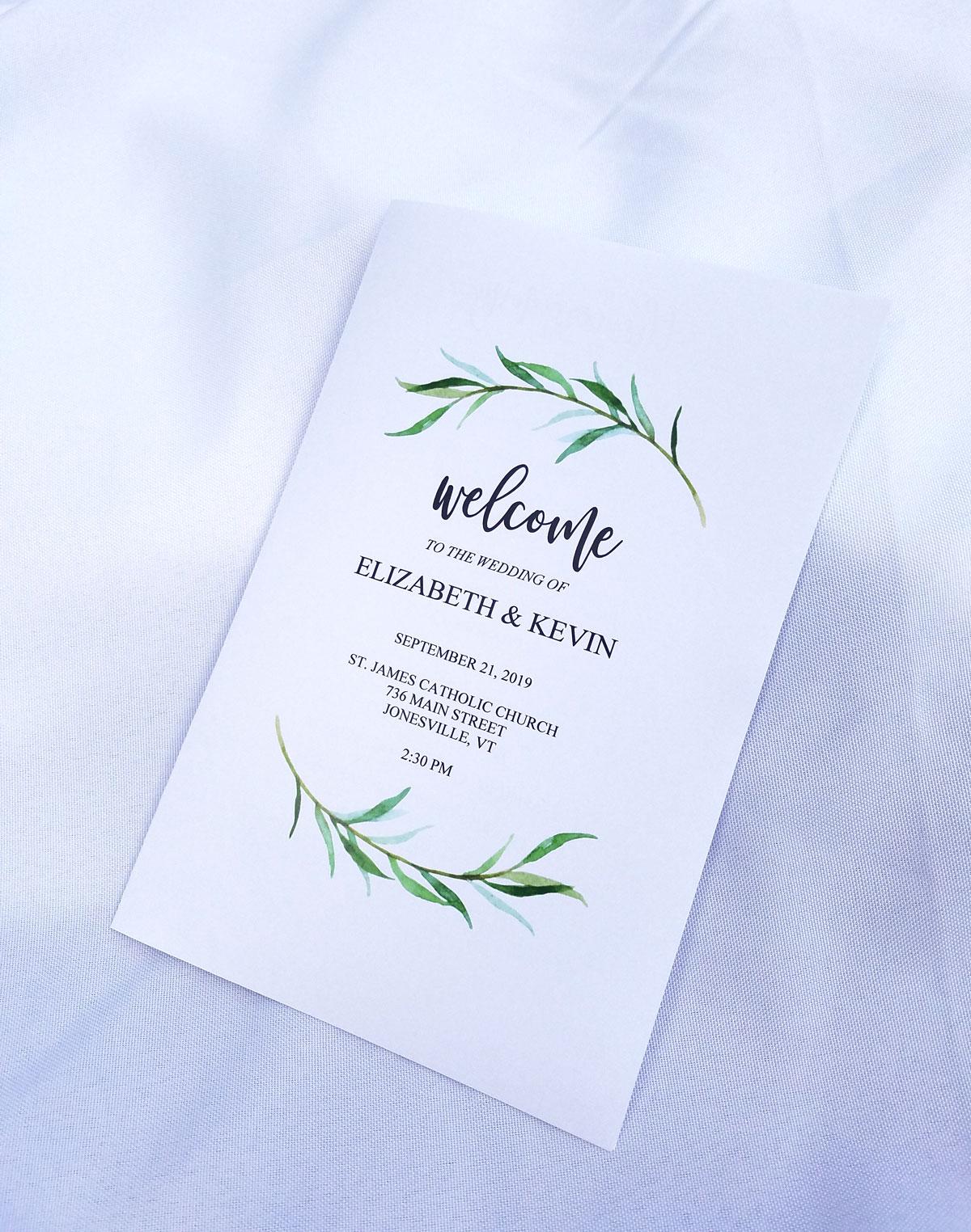 Wedding Ceremony Program.Tender Greenery Wedding Ceremony Program Booklet