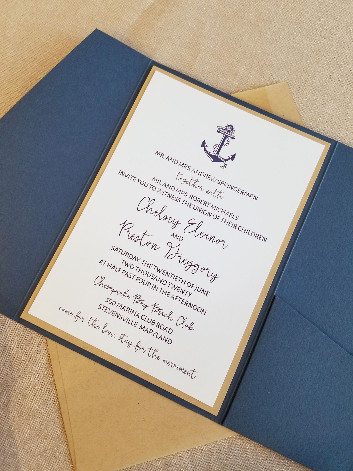 Nautical Wedding Invitations.Navy Pocketfold Nautical Wedding Invitation Sample