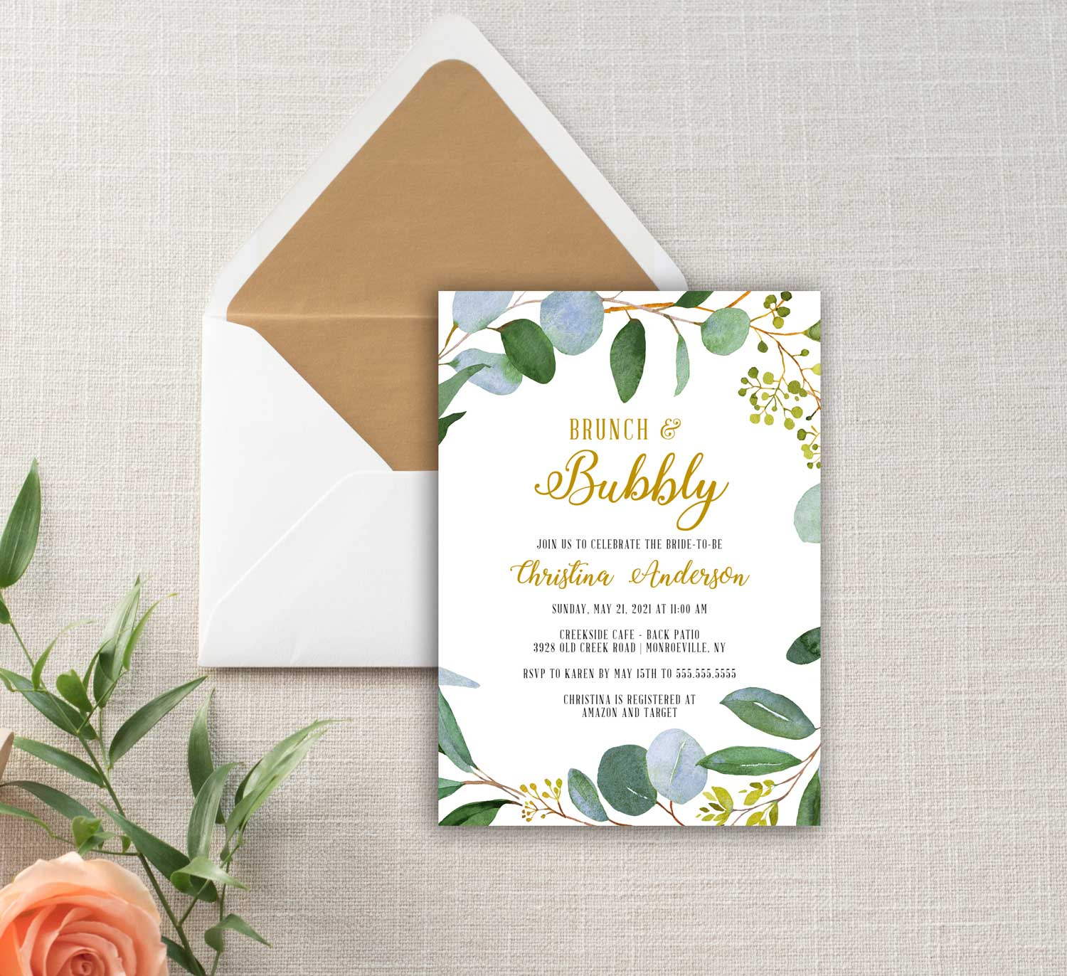 2ef87c7f3cea Greenery and Gold Brunch and Bubbly Bridal Shower Invitation