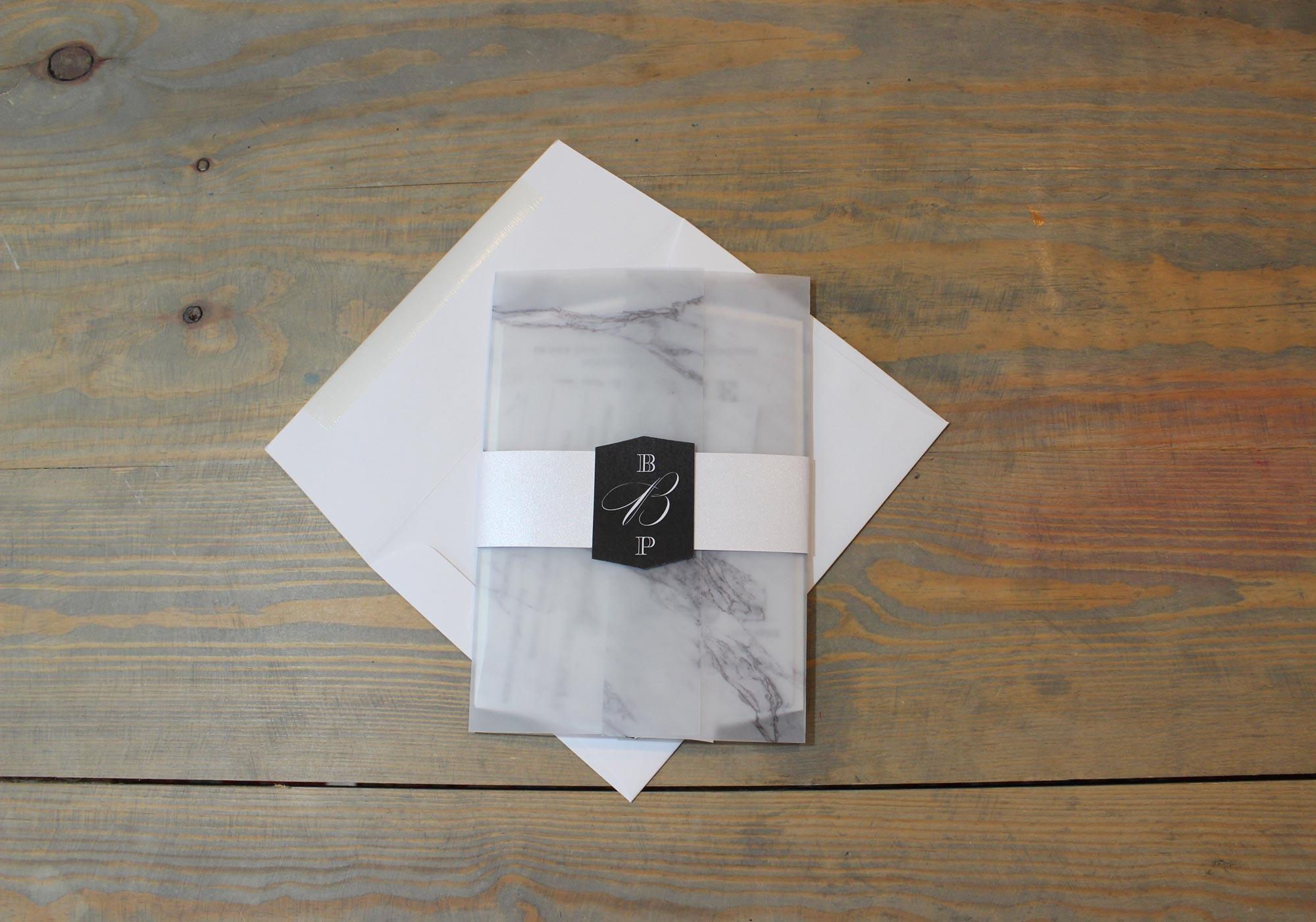 marble vellum wedding invitation