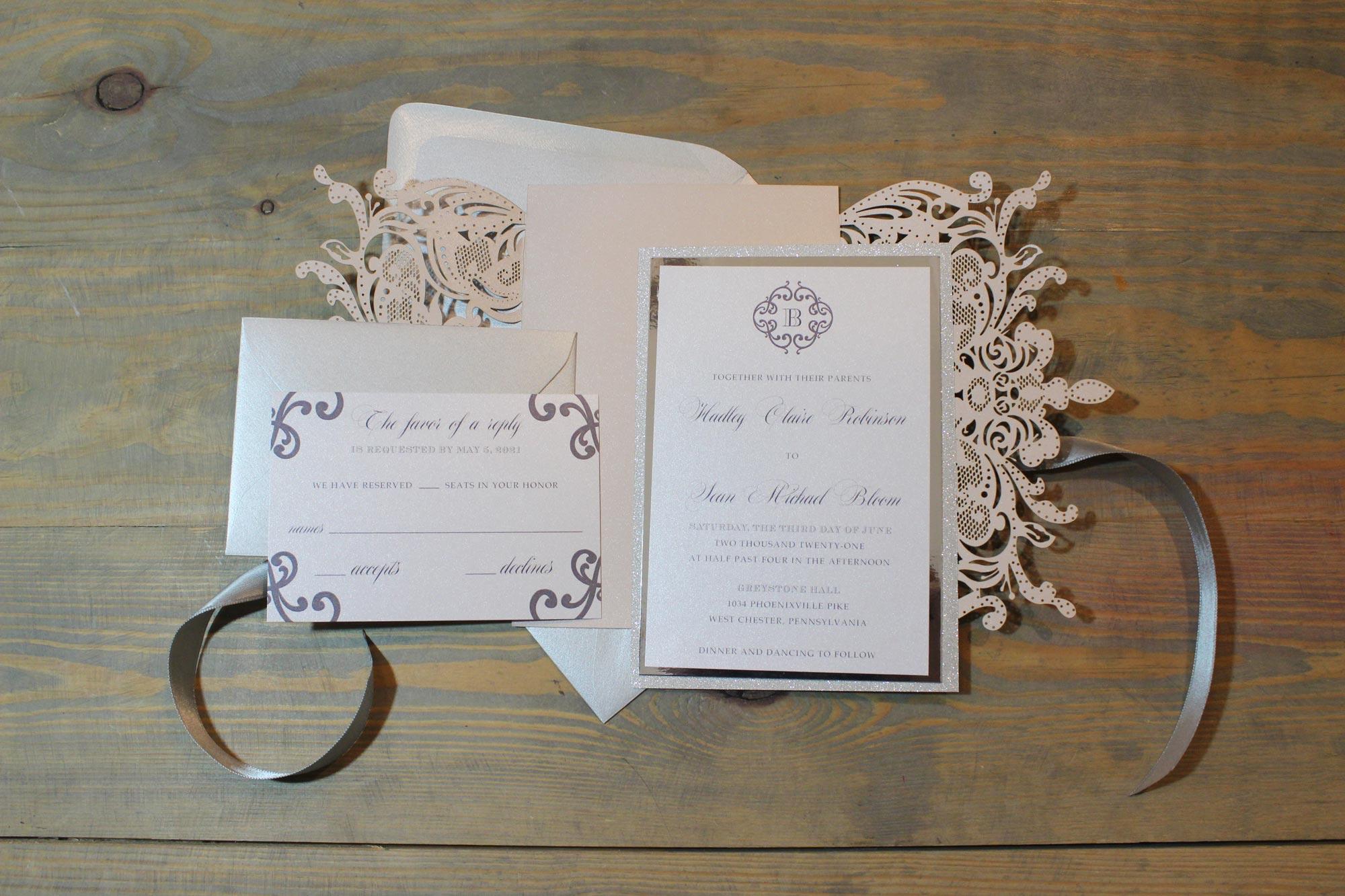 dusty blush laser cut wedding invitation