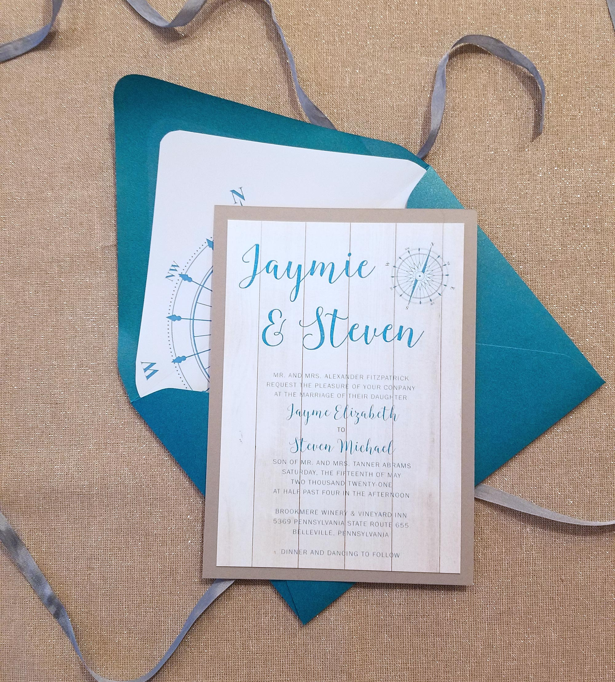 Nautical Wedding Invitations.Weathered Nautical Wedding Invitation