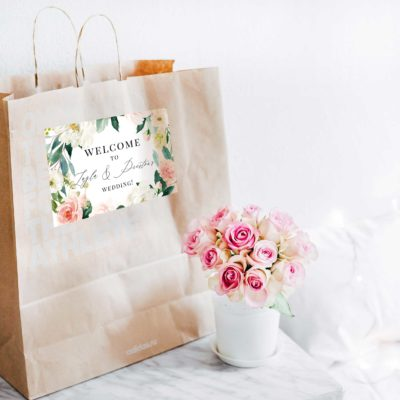 ethereal blush welcome bag label