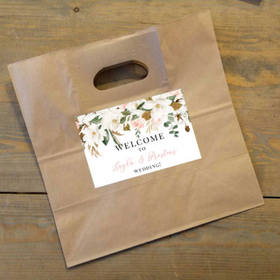 magnolia wedding welcome bag label