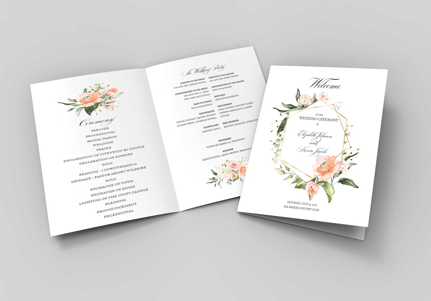 peach-greenery-bouquet-gold-geometric-border-program-booklet-1