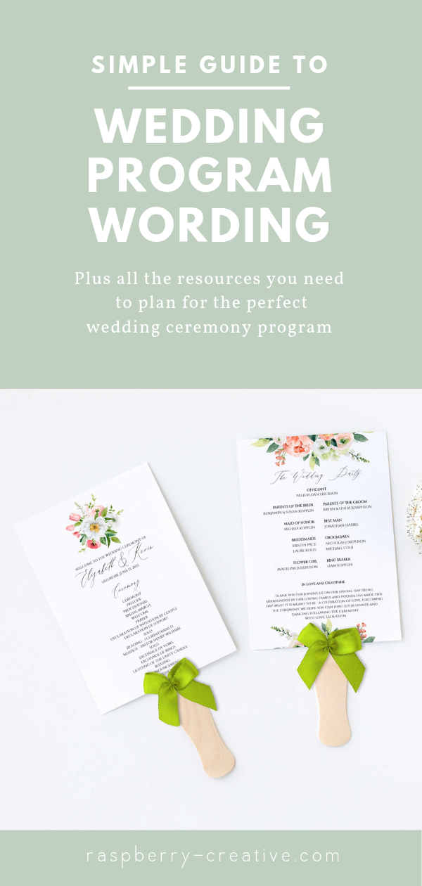 simple guide to wedding program wording