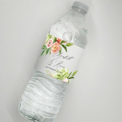 spring flowers water bottle label