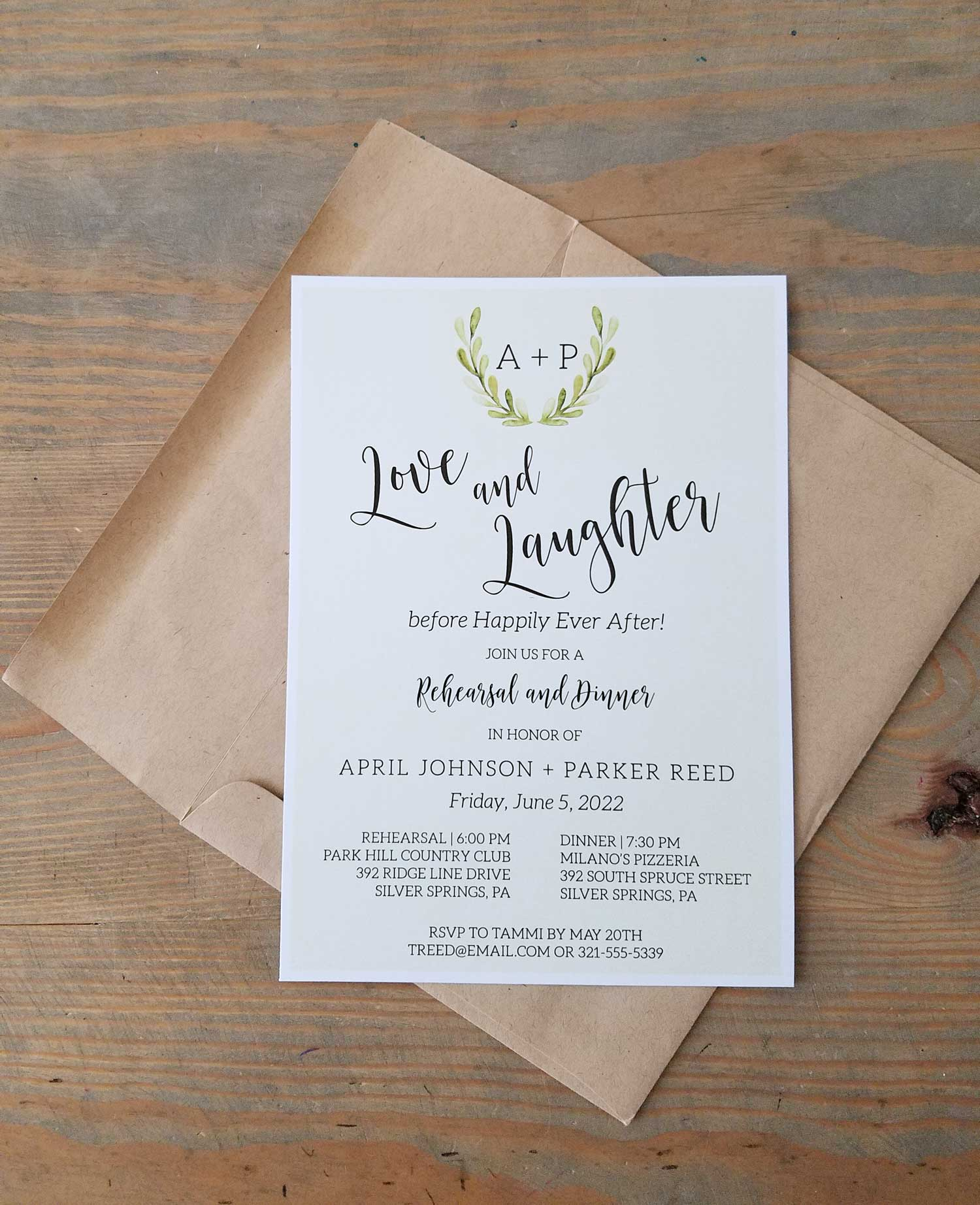 painted monogram rehearsal dinner invitation