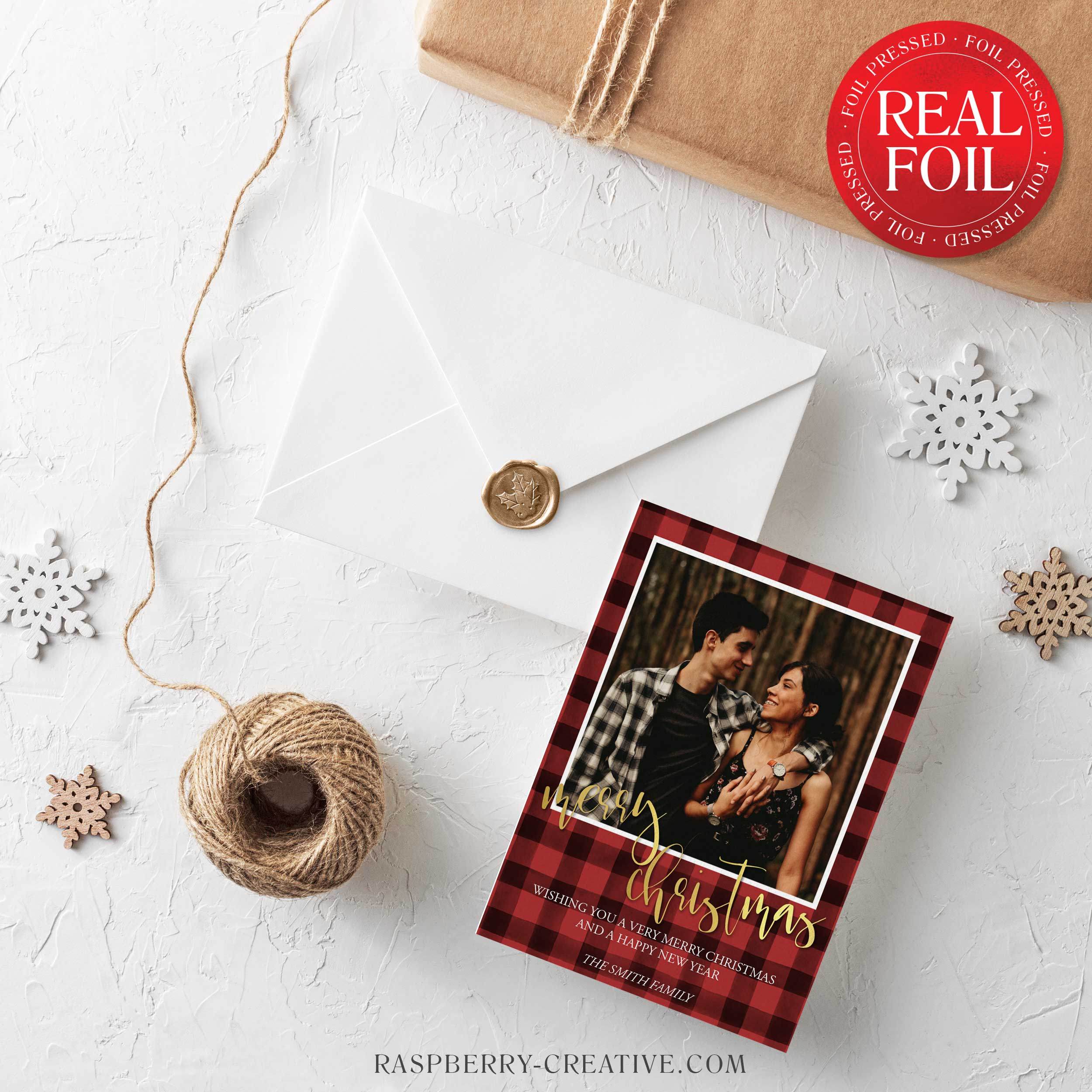 foil-stamped-buffalo-plaid-merry-christmas-holiday-card-2