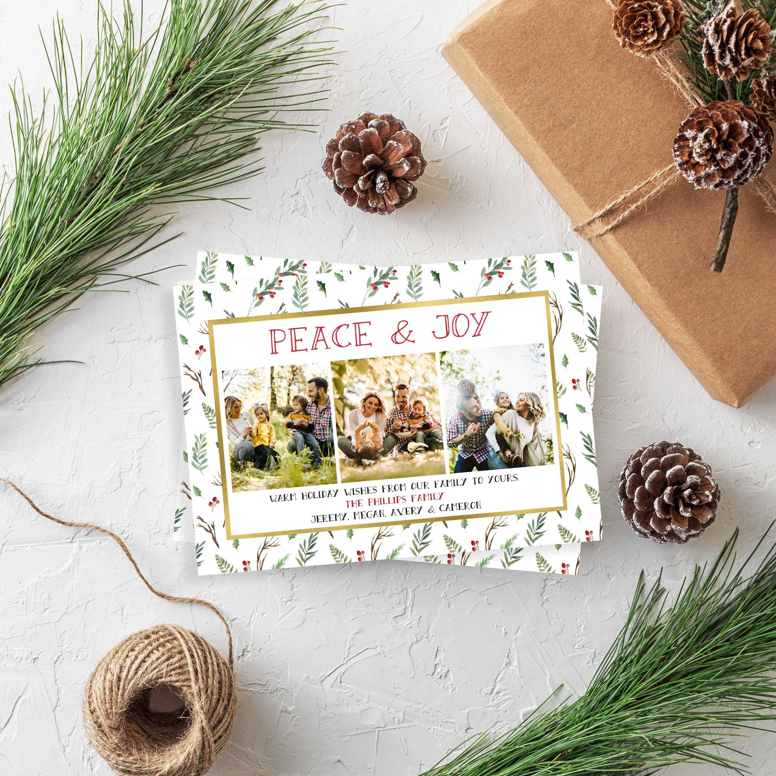 pattern greenery and gold holiday photo card