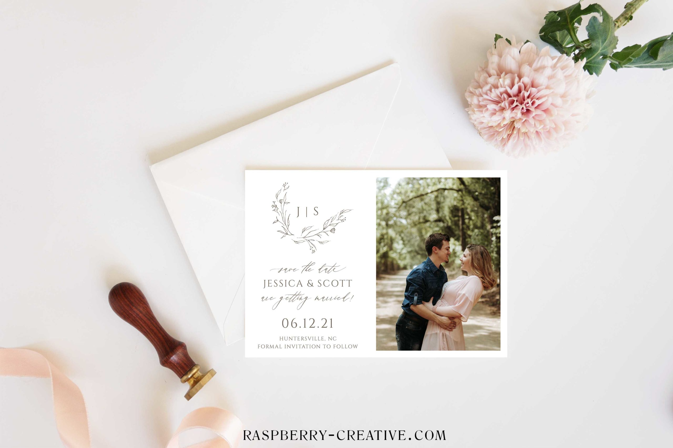 delicate wreath save the date card