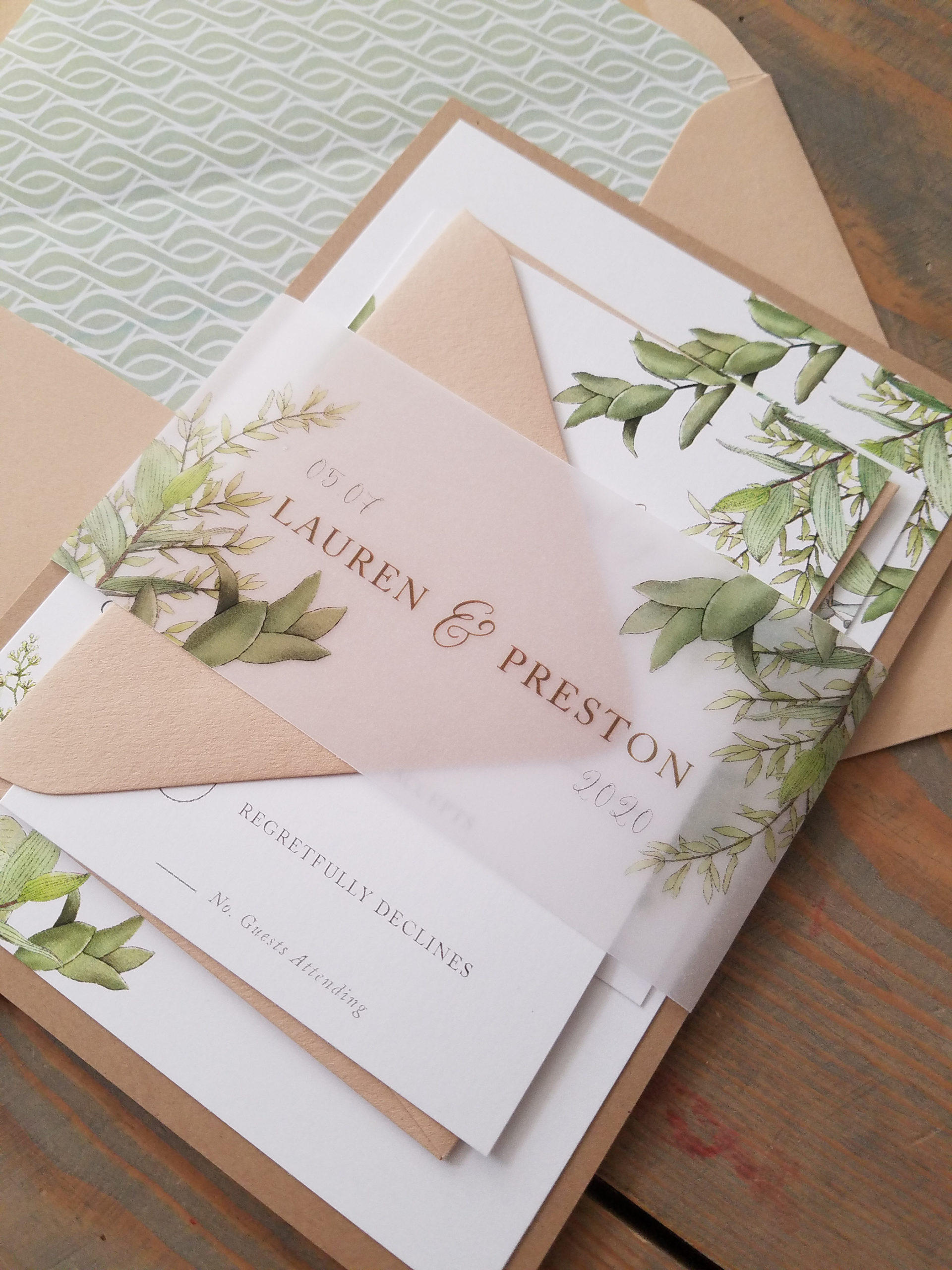 greenery vellum belly band wedding invitation