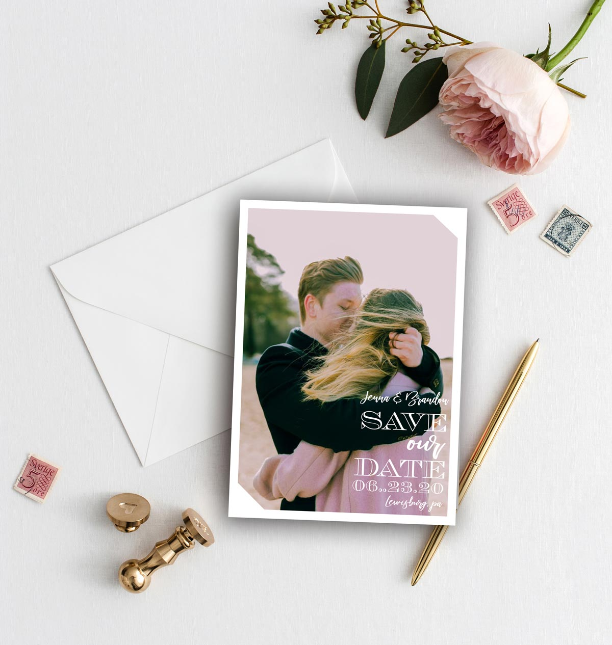 love on angles save the date card