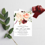 autumn shrine large bouquet rehearsal dinner invitation