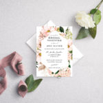 blush dew geometric bridal shower invitation