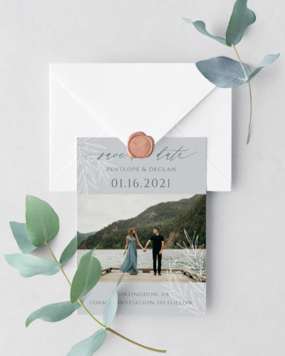 frosted branches save the date