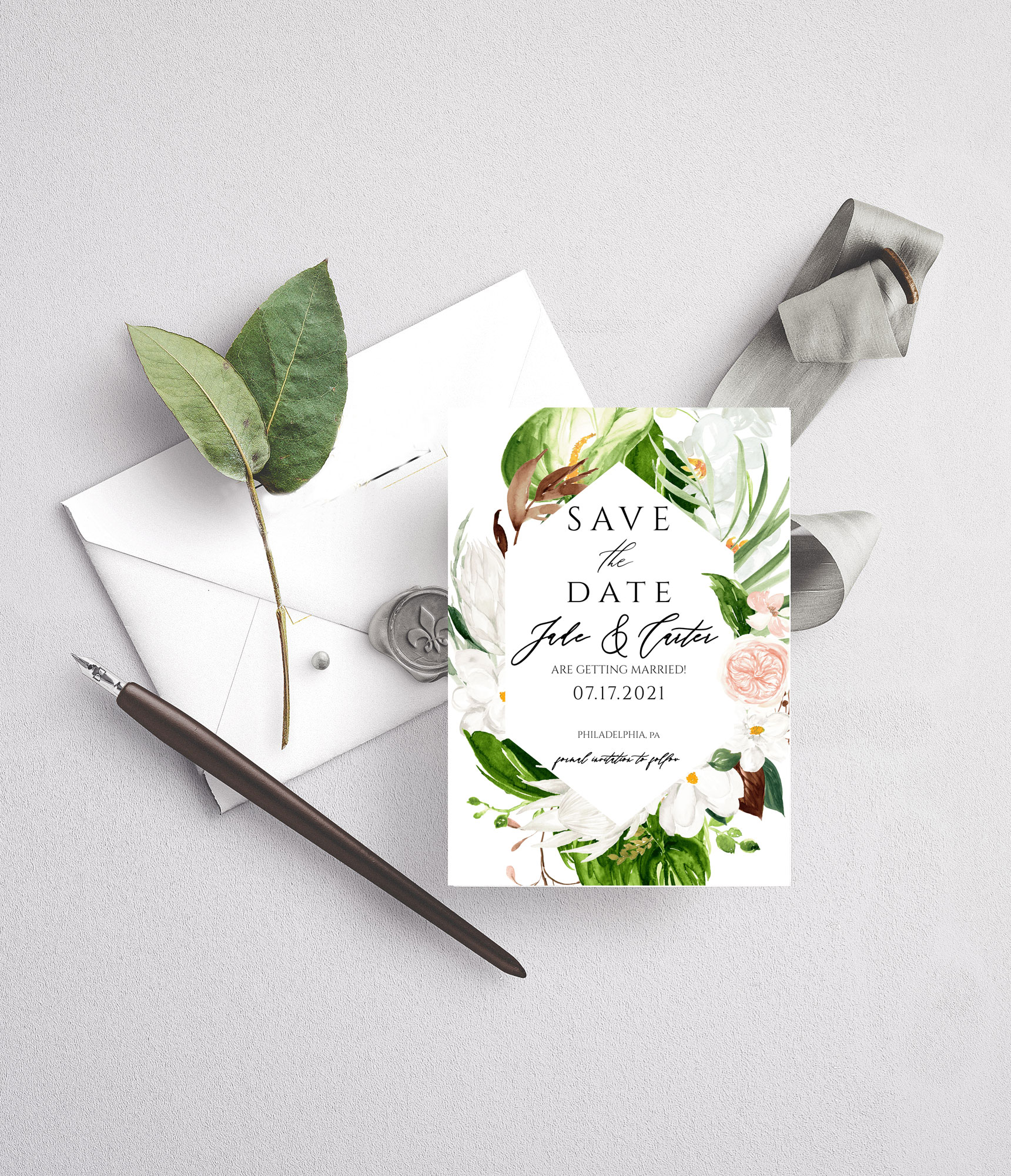 lush tropical save the date