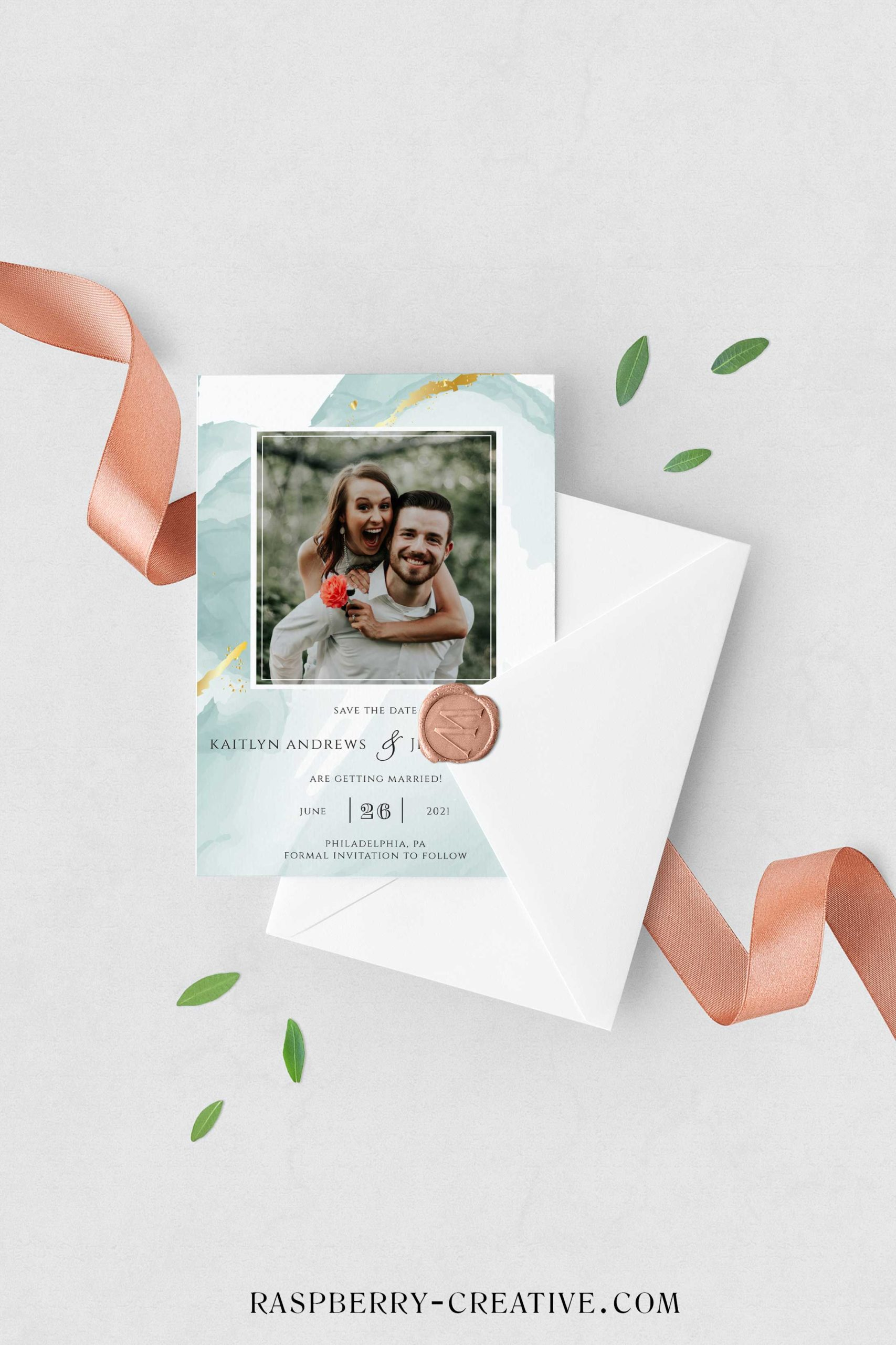 mint and gold watercolor save the date