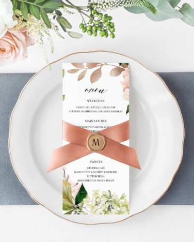 reception menu card