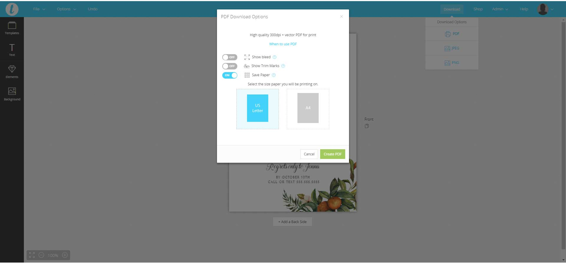 pdf save paper options