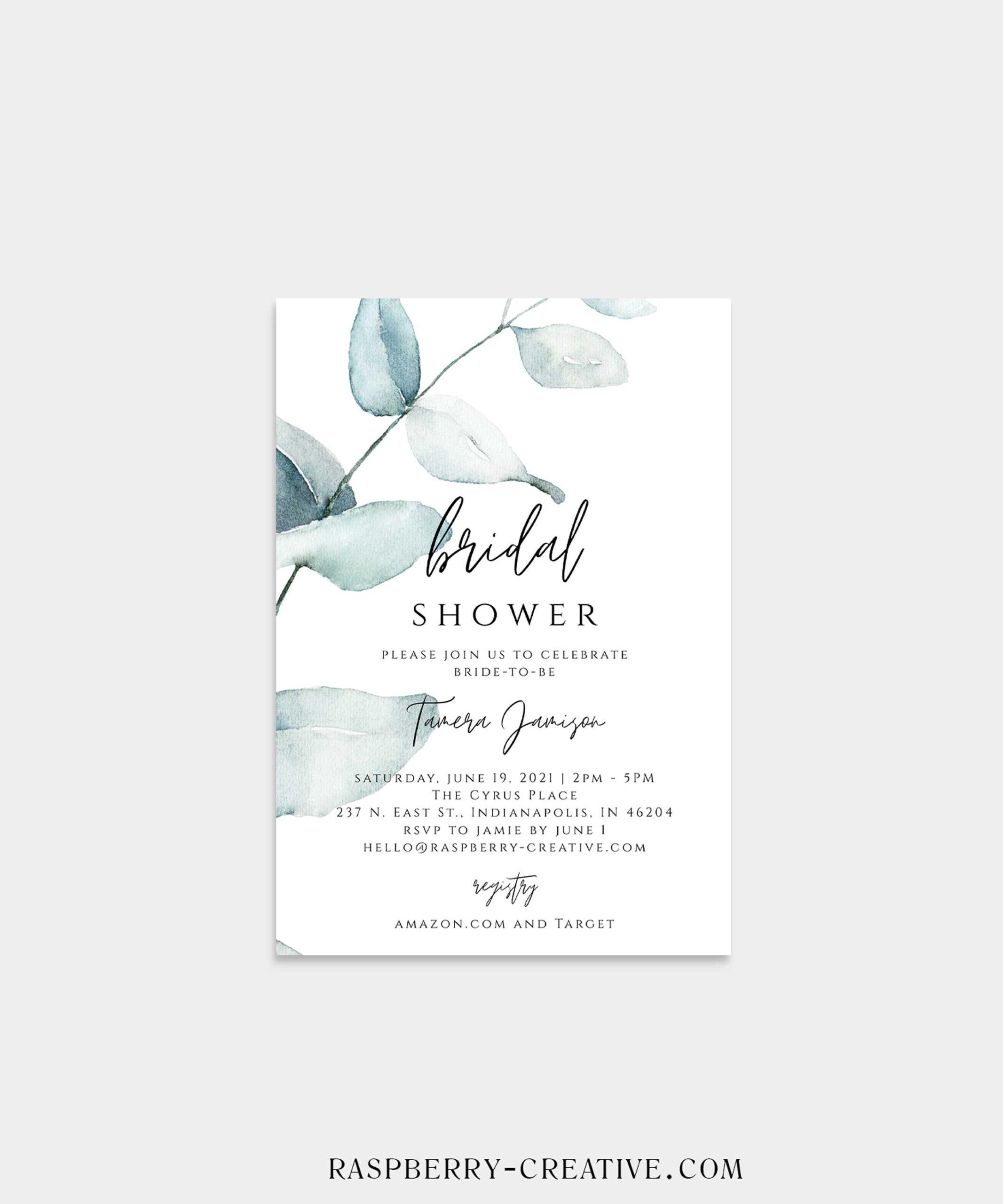 Modern Eucalyptus Bridal Shower Invitation
