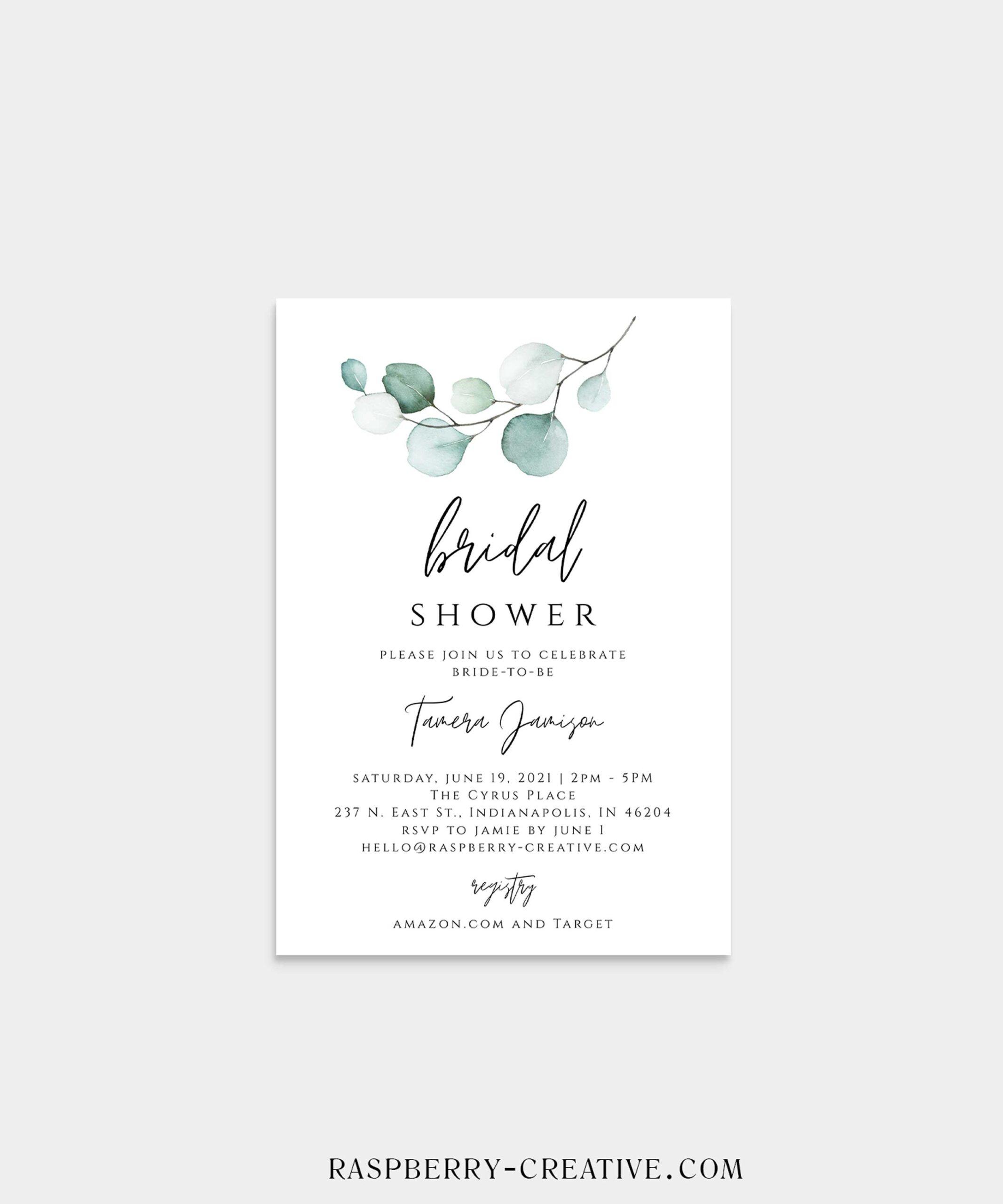 simple eucalyptus bridal shower invitation