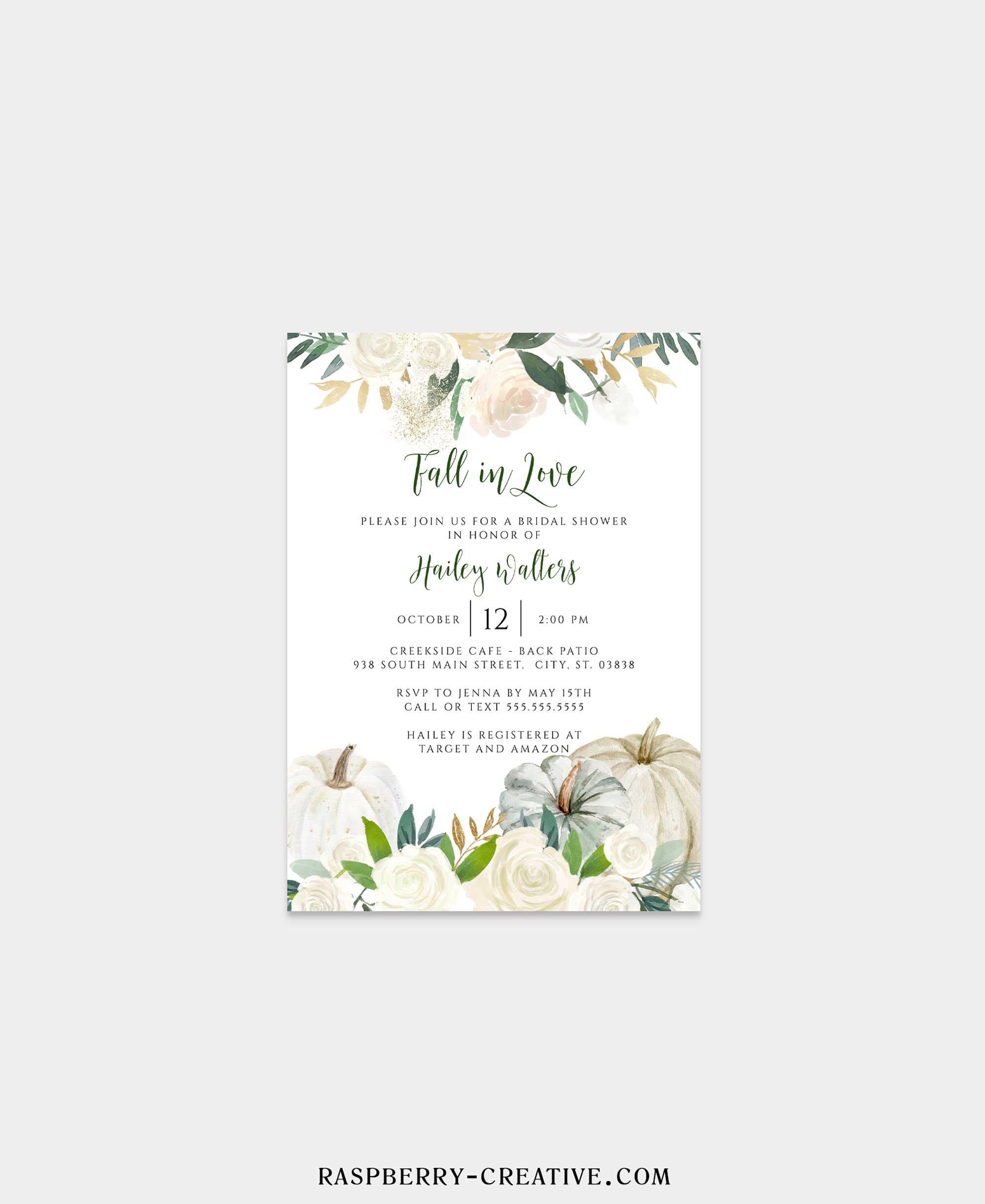 fall in love ivory pumpkin bridal shower invitation
