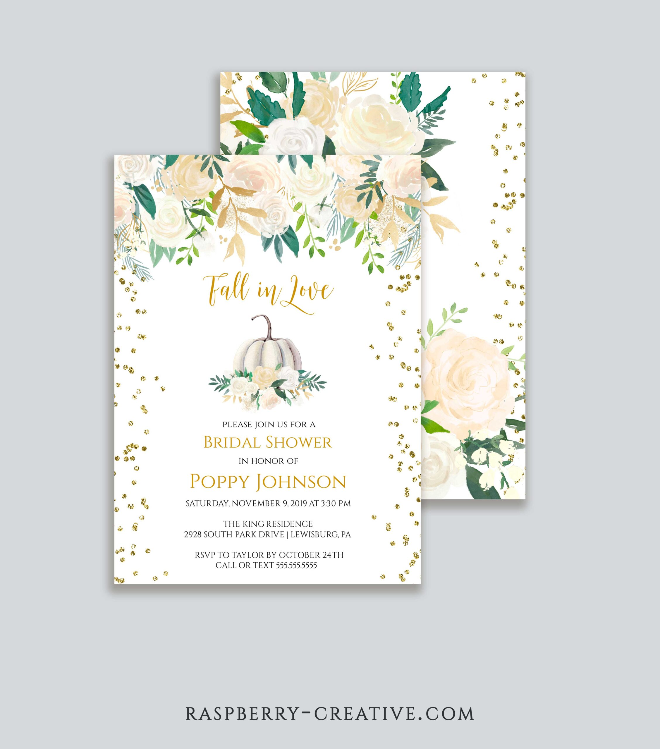 White Roses Gold Pumpkin Fall in Love Bridal Shower Invitation