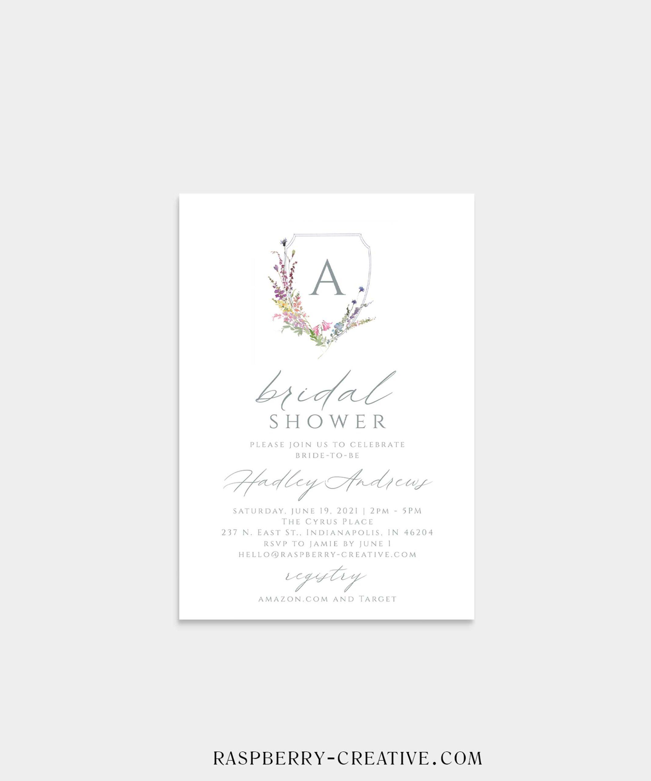 Watercolor Monogram Bridal Shower Invitation
