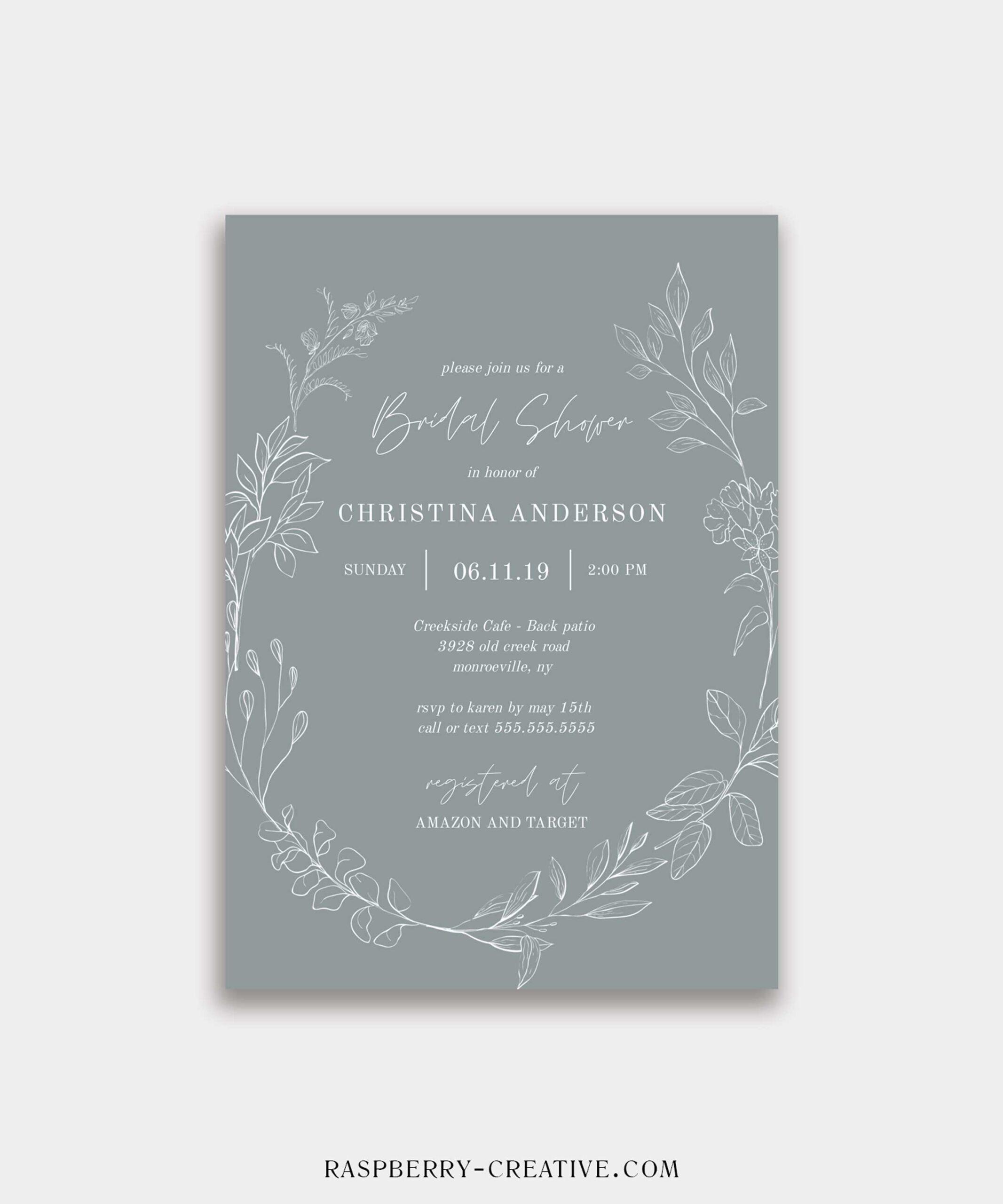 Botanical Wreath Bridal Shower Invitation