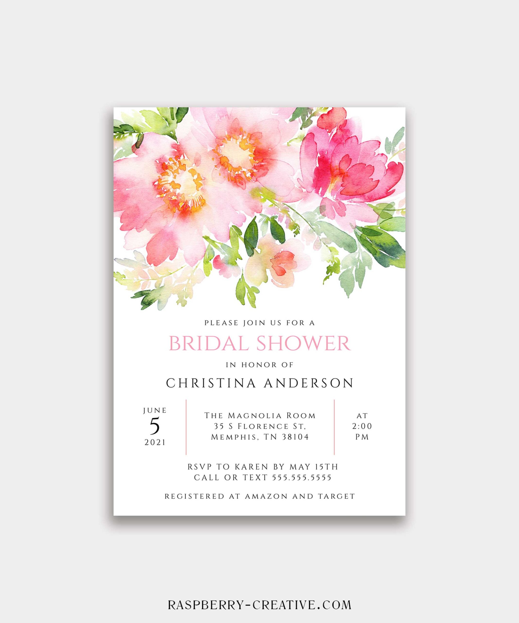bright watercolor bridal shower invitation