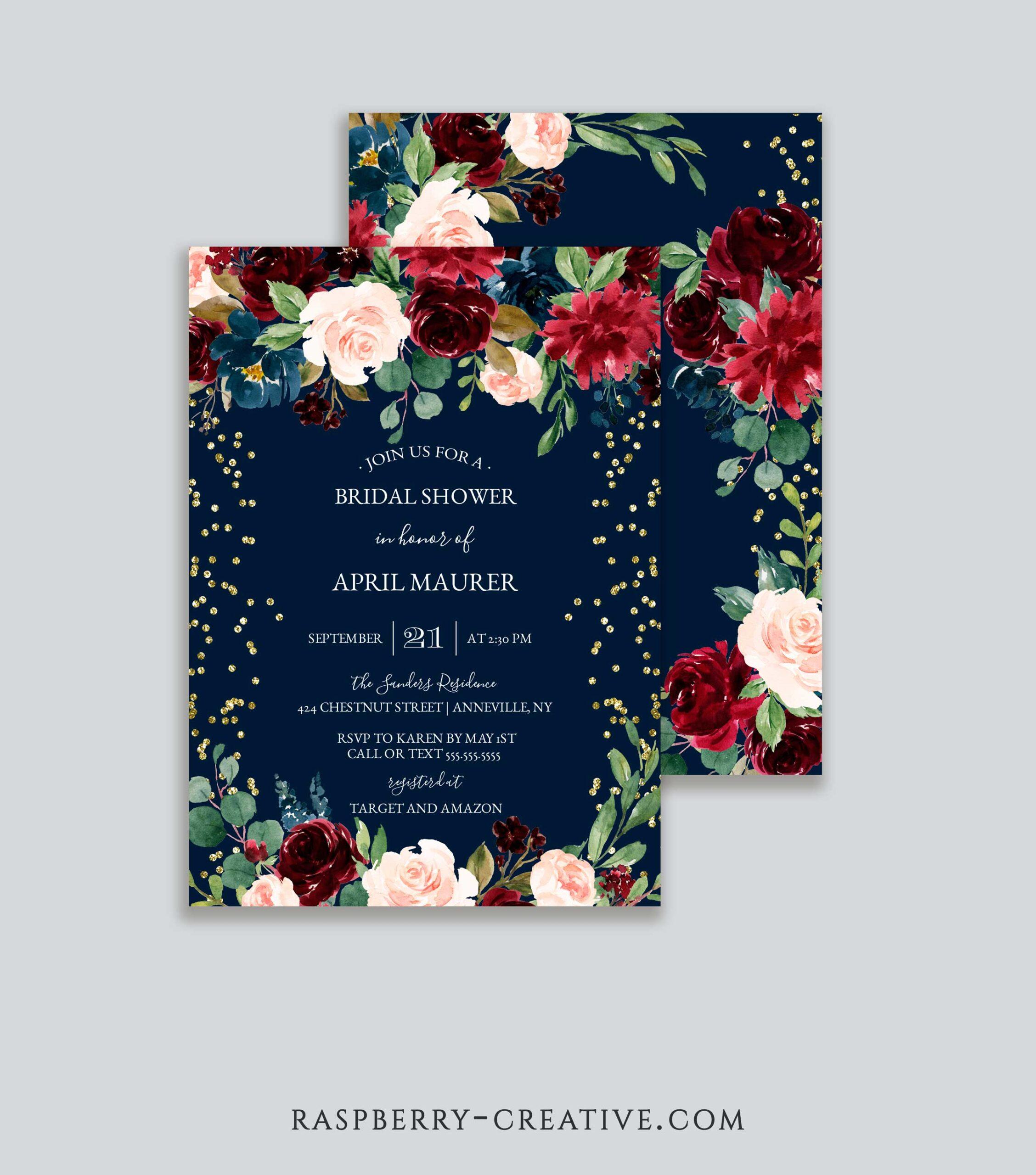 burgundy blush and navy gold glitter bridal shower invitation