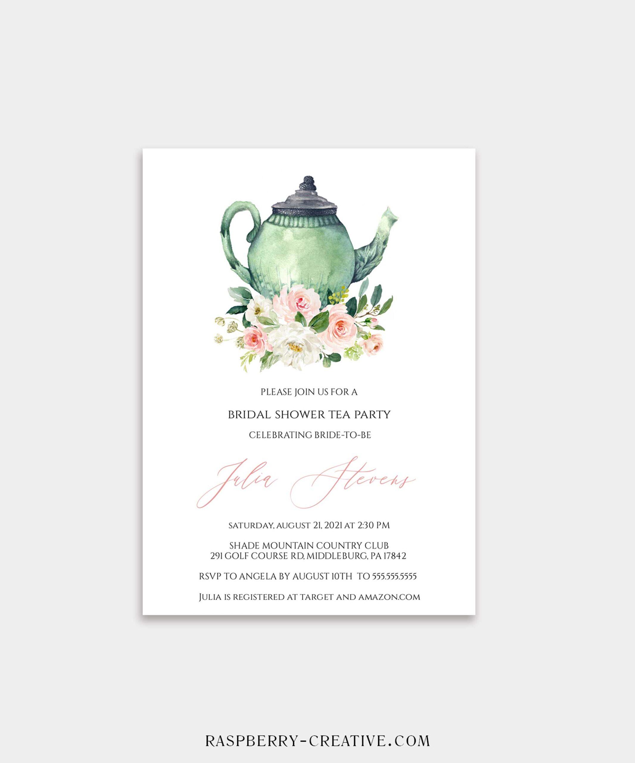 Blush and Mint Bridal Tea Bridal Shower Invitation