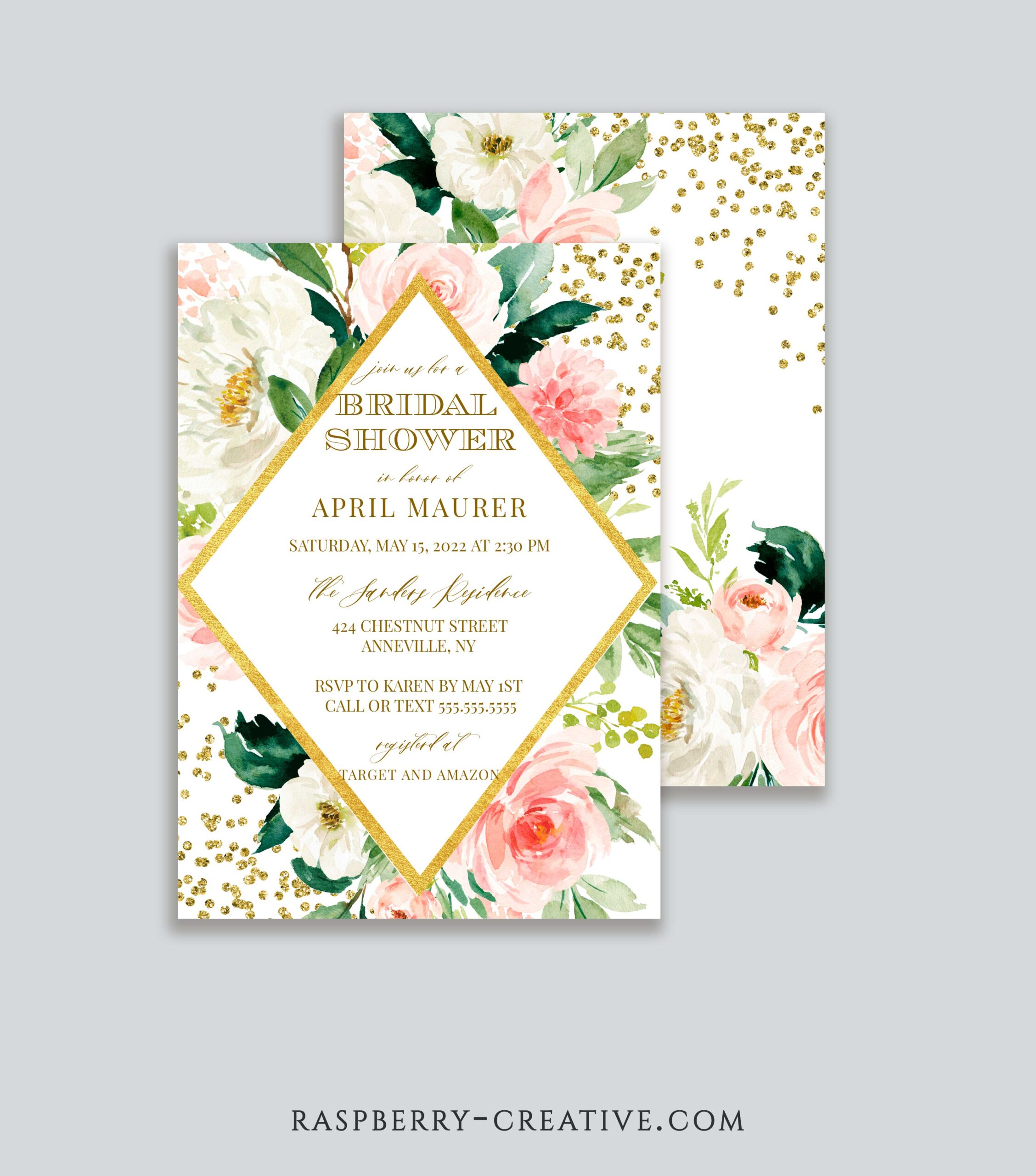 Blush and Gold Diamond Bridal Shower Invitation
