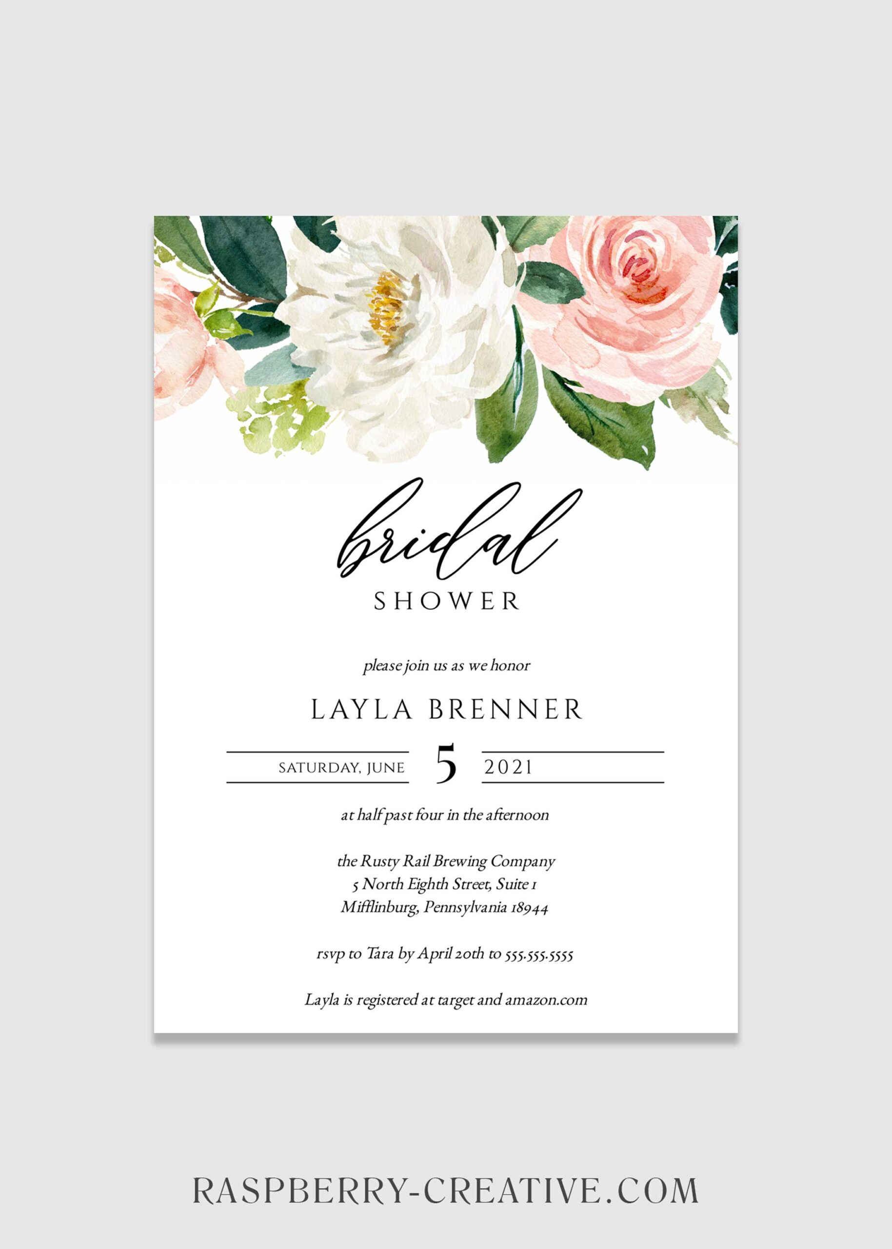 Simple Blush Bridal shower Invitation