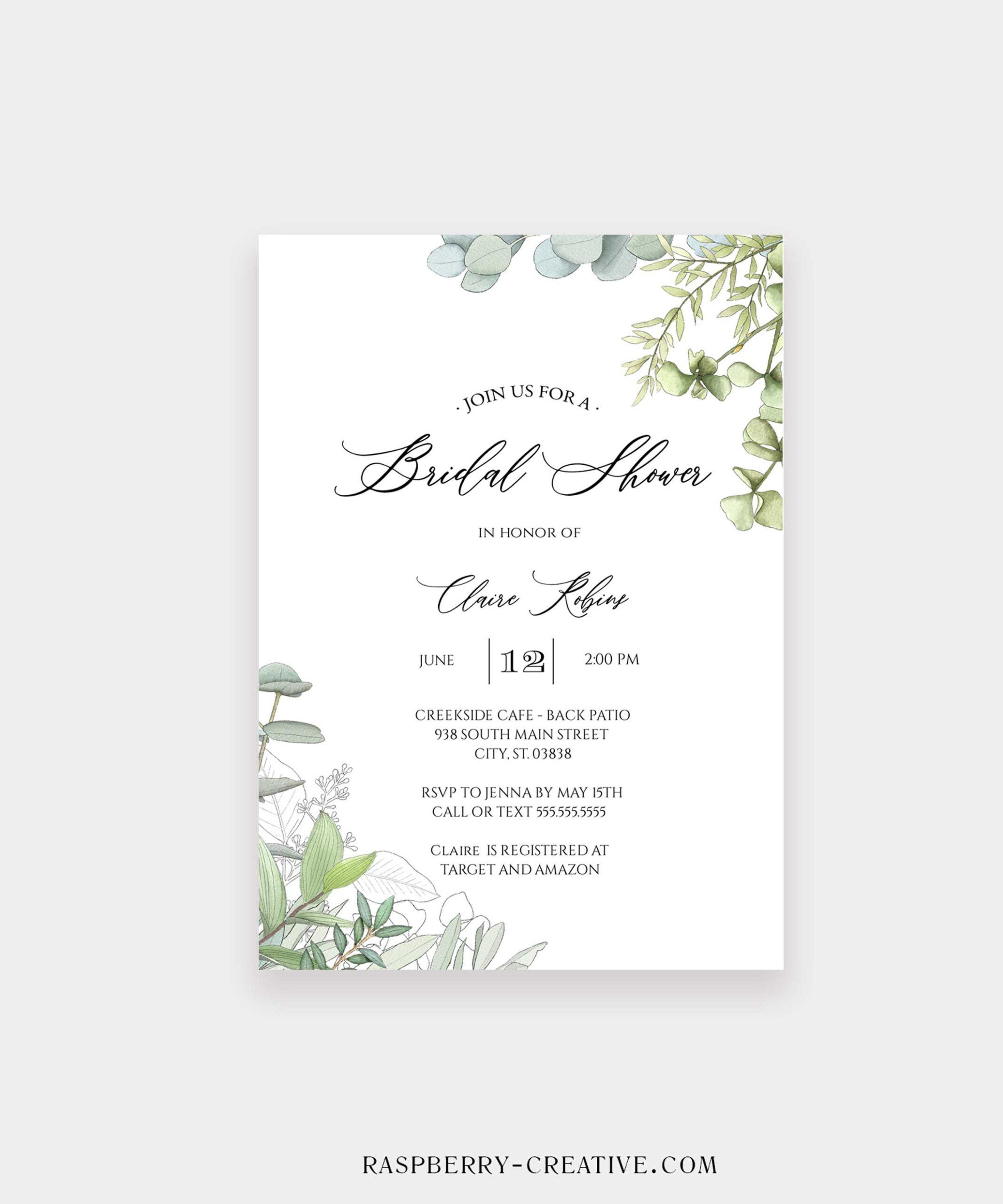Fresh Greenery Corners Bridal shower Invitation