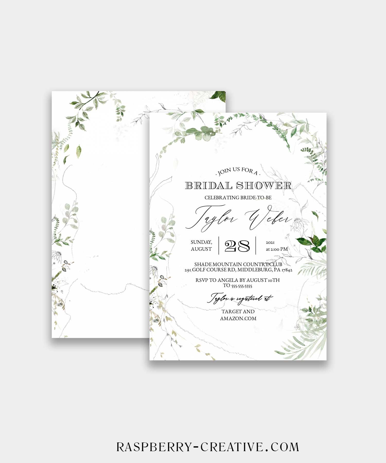 dreamy greenery bridal shower invitation