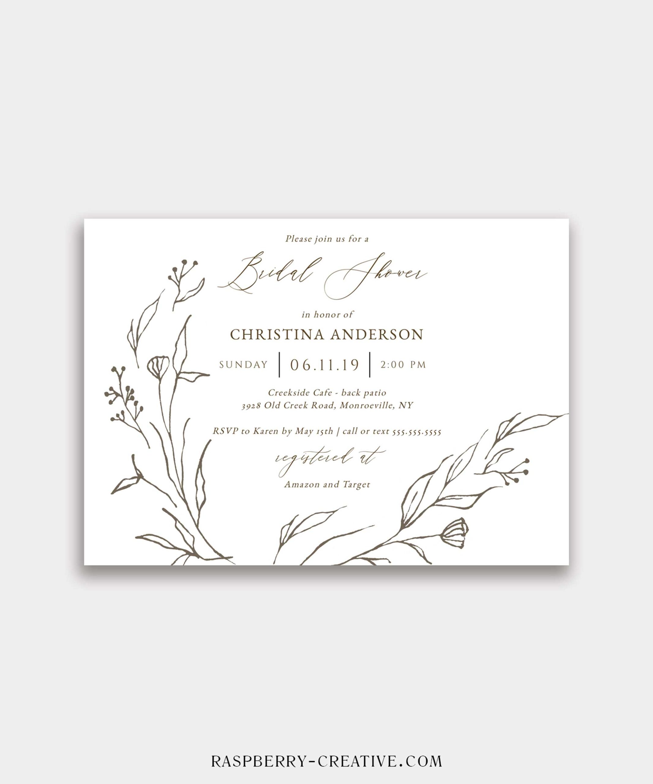 hand drawn botanical wreath bridal shower invitation