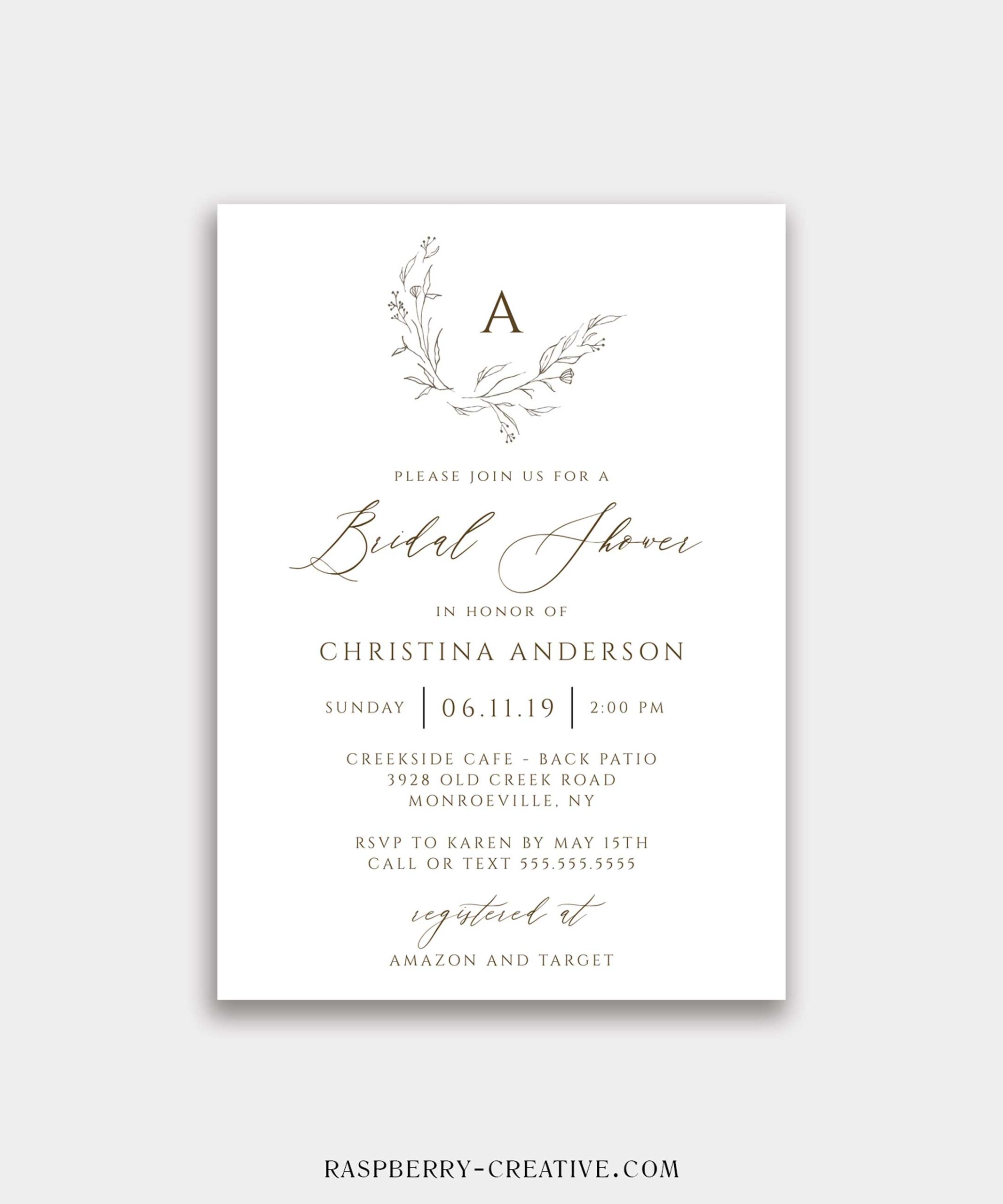 hand drawn rustic monogram bridal shower invitation