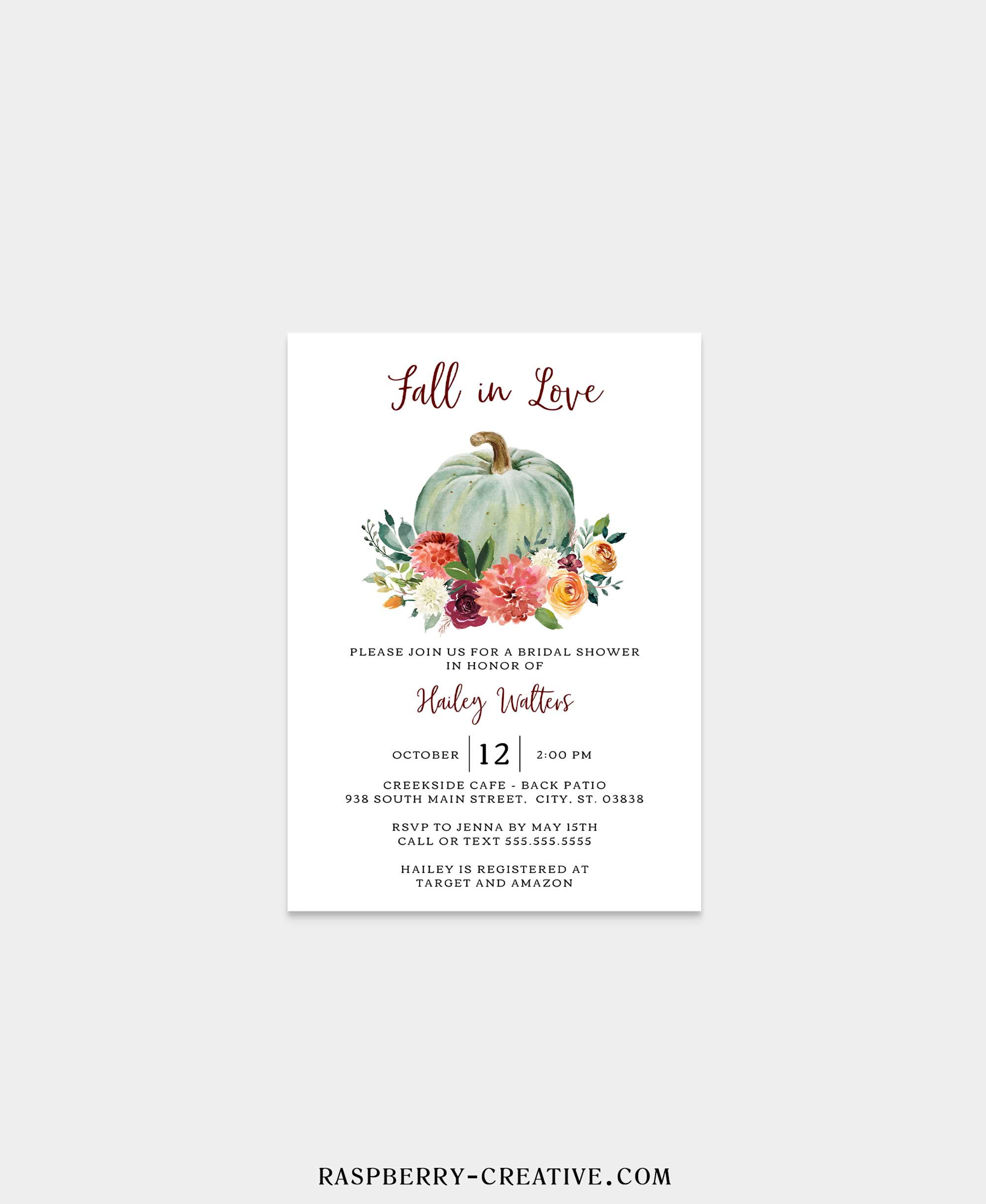 Spicey Pumpkin Fall in Love Bridal Shower Invitation