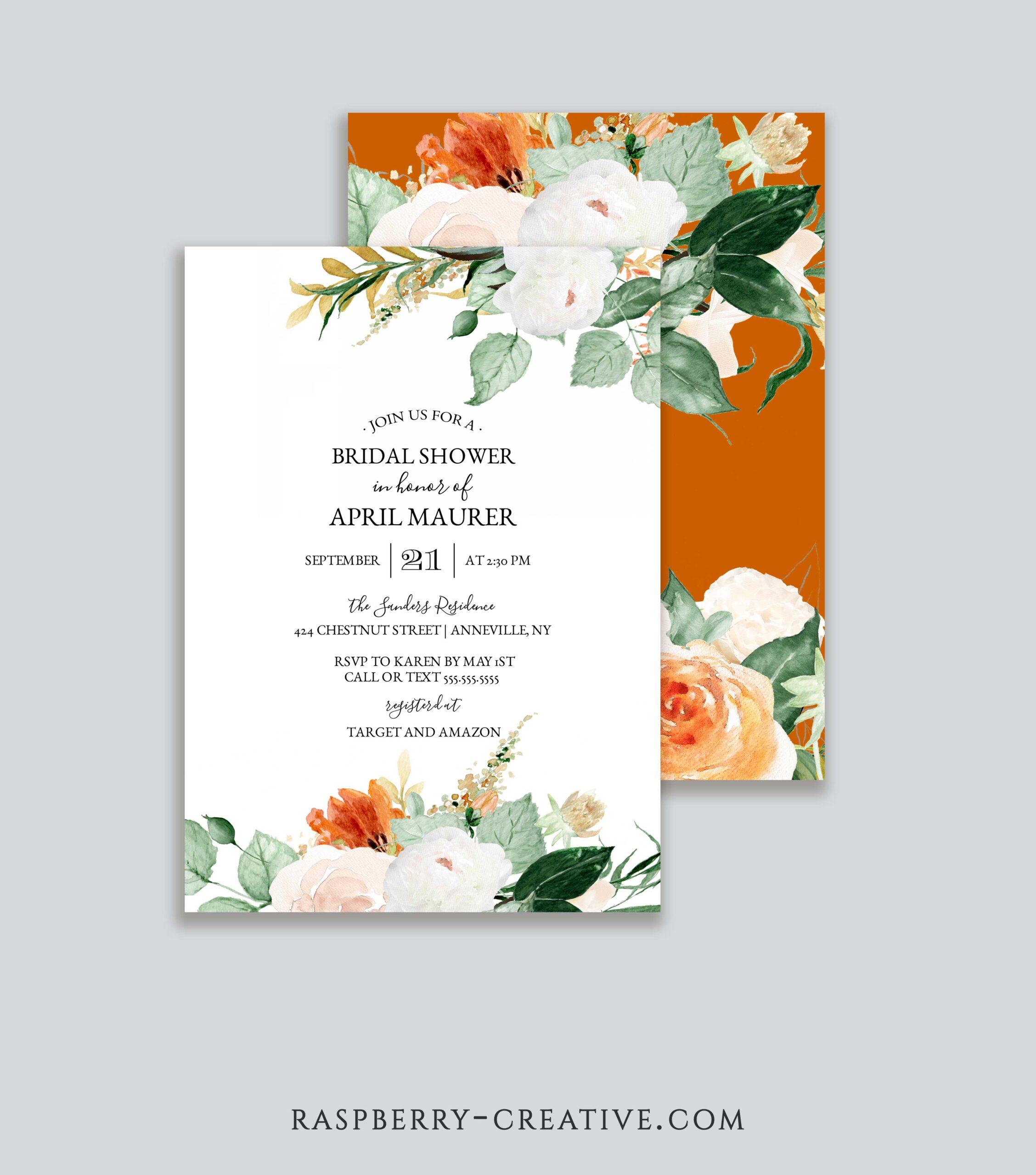 Early Fall Bridal Shower Invitation