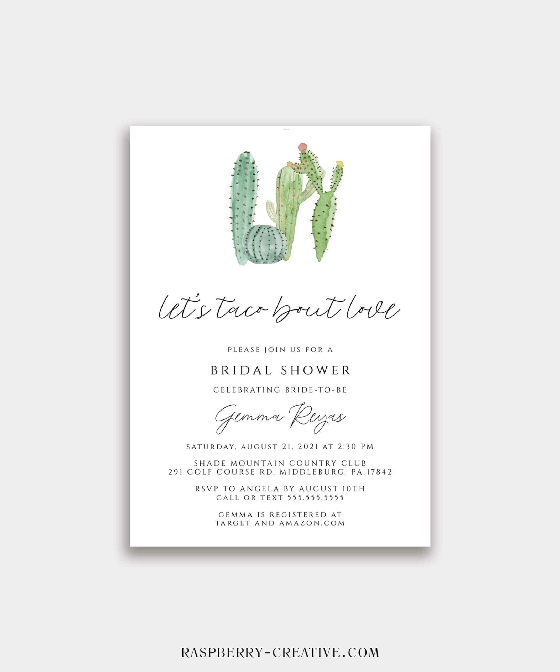 Let's Taco Bout Love Cactus Bridal Shower Invitation