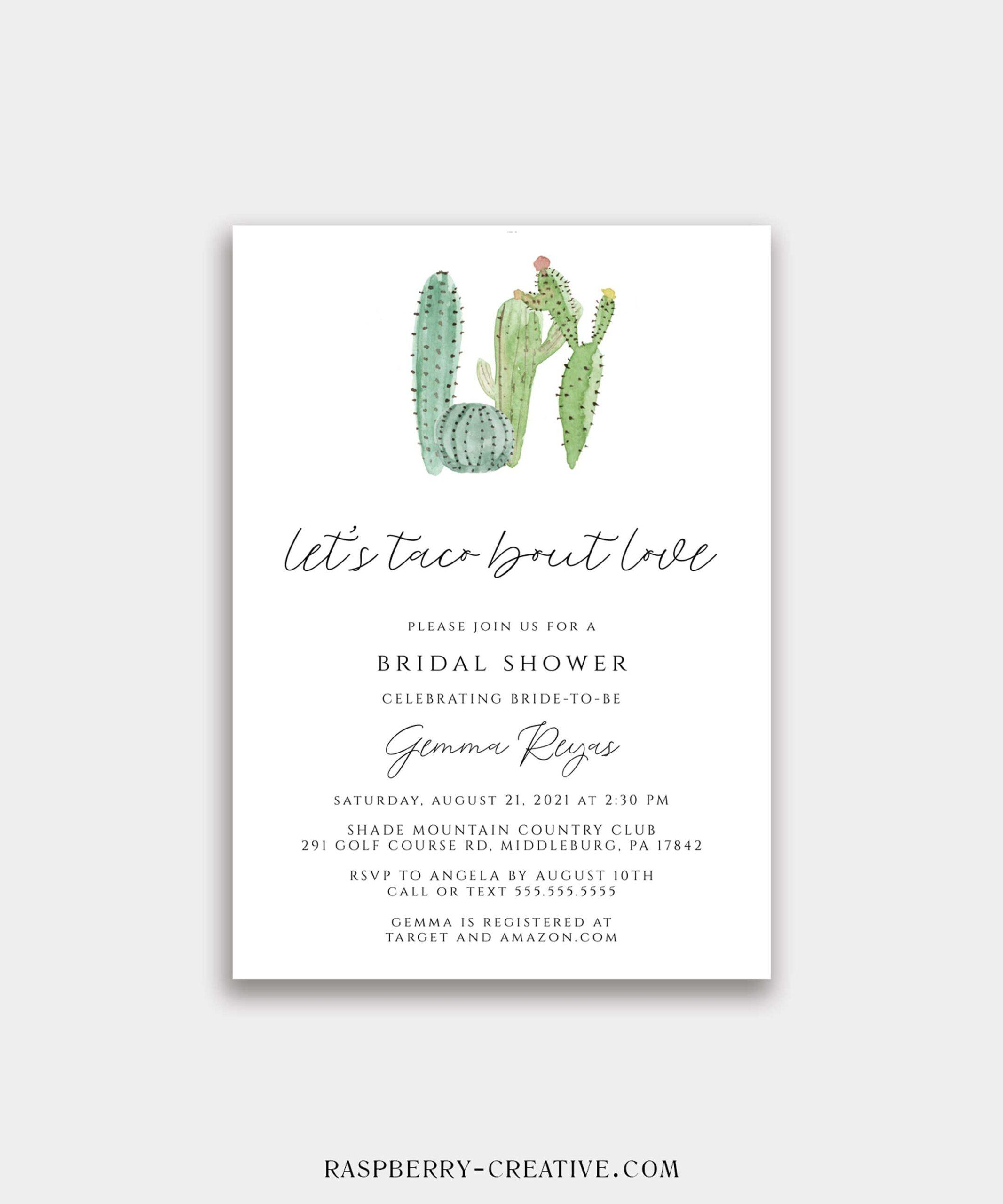 Let's Taco Bout Love Cactus Bridal Shower Invitation