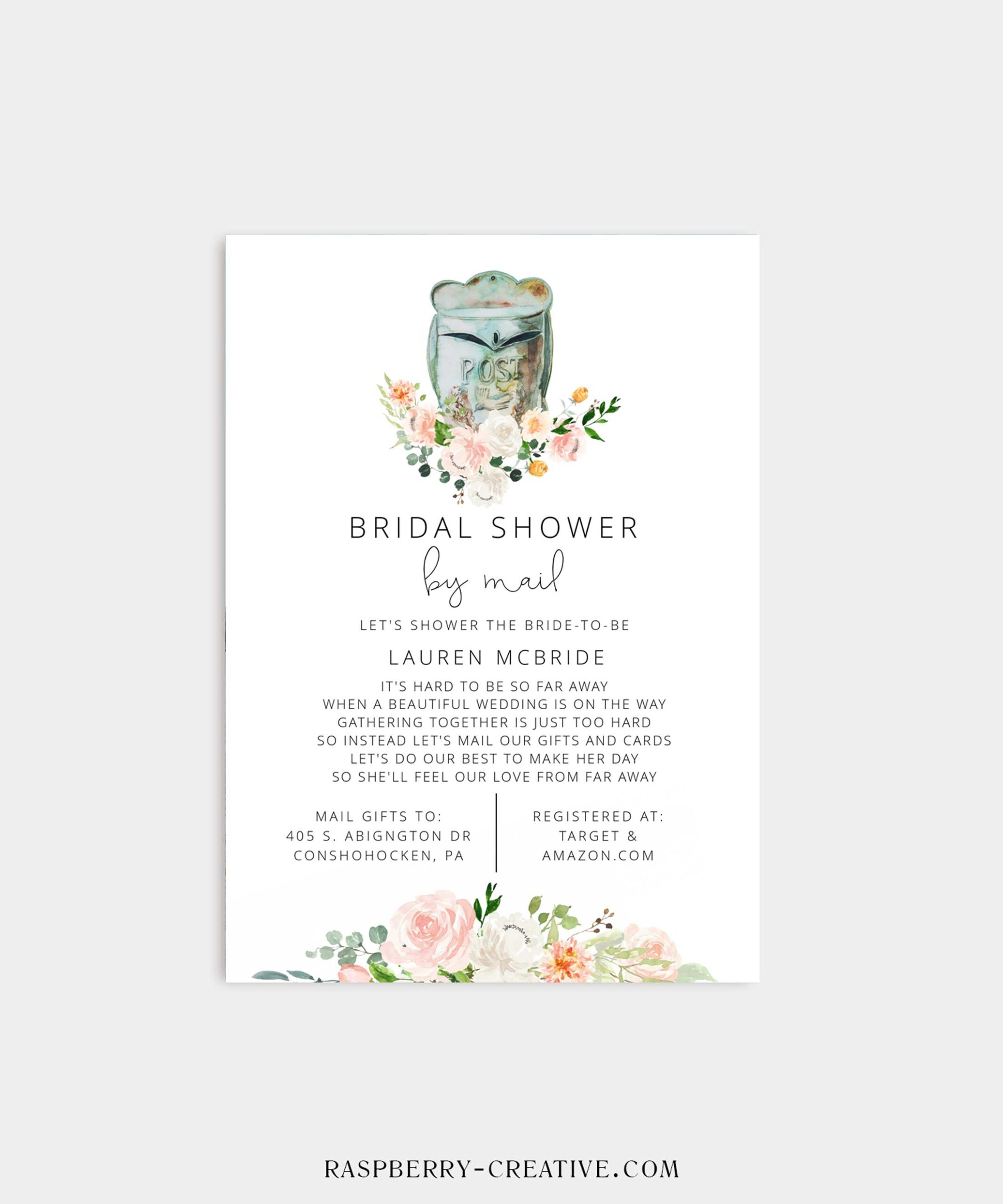 Coral Flora Bridal Shower by Mail Invitation