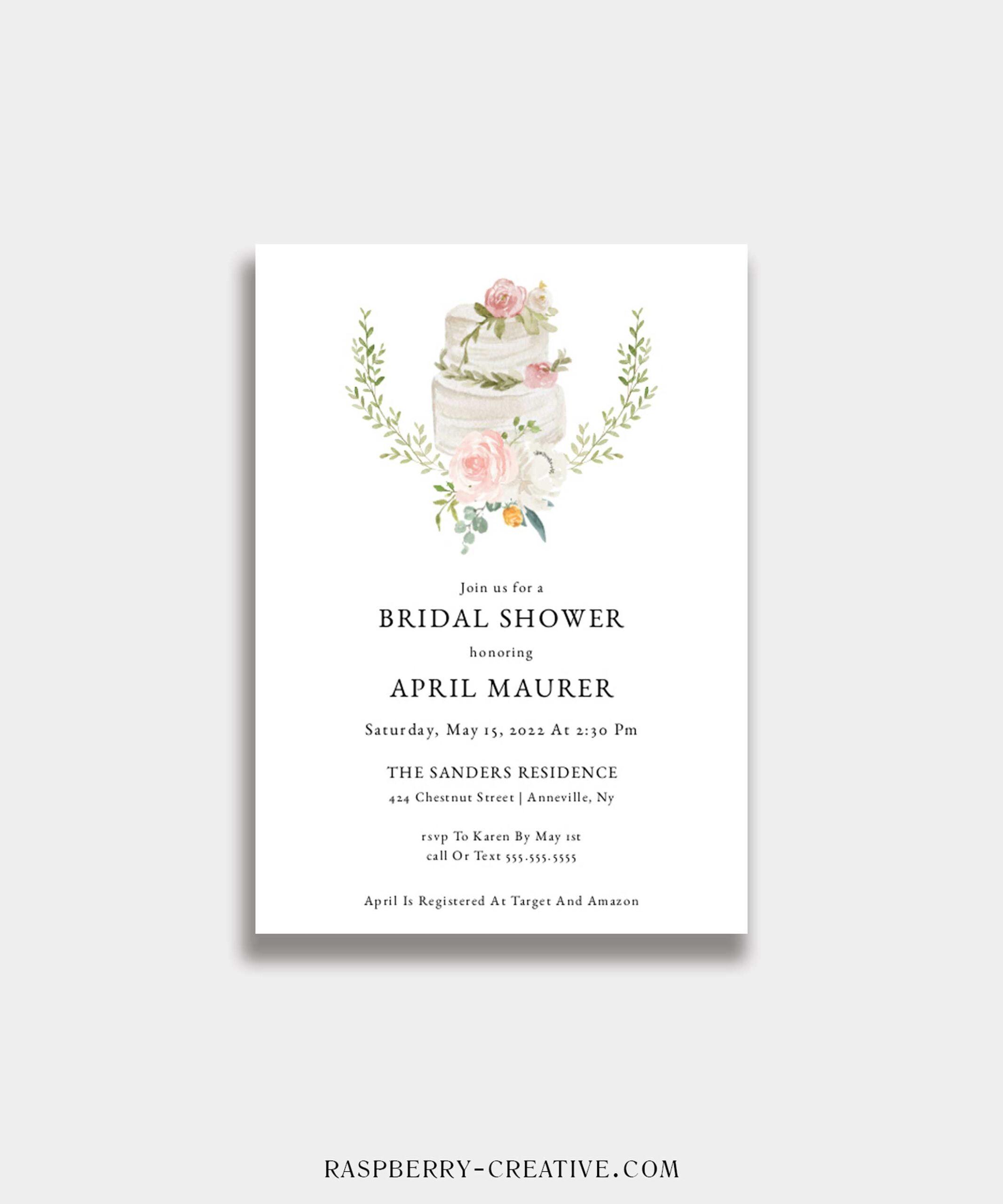 wedding cake coral bridal shower invitation