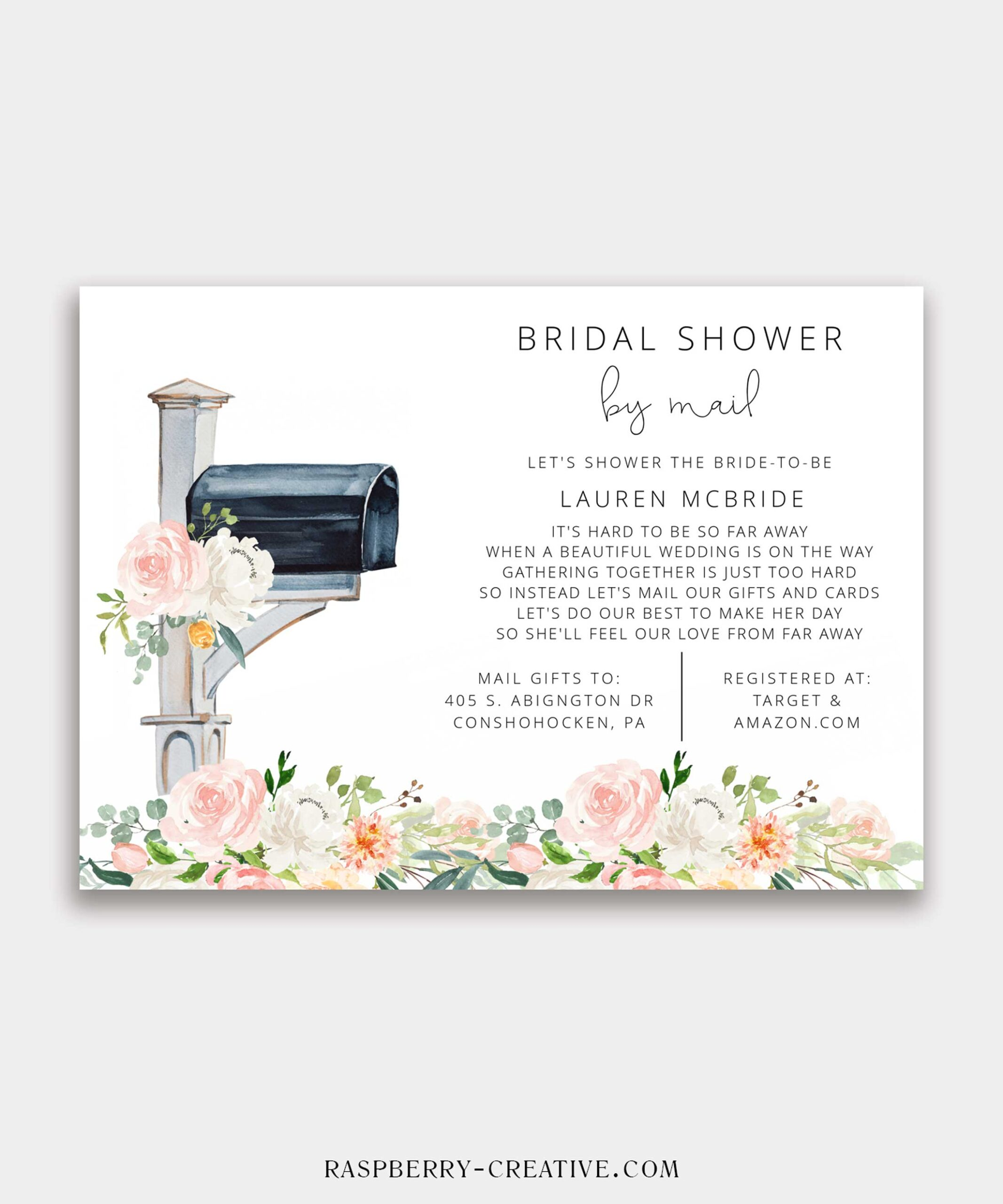 Bridal Shower by Mail Invitation