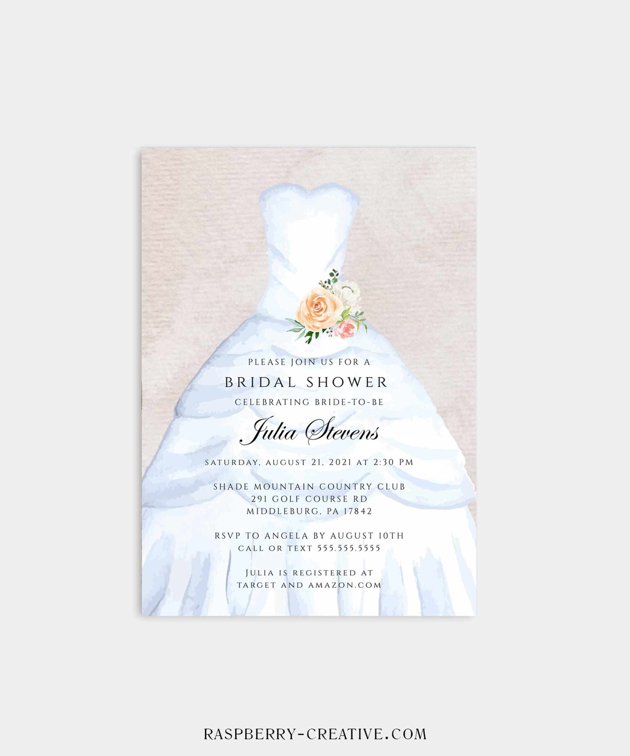 Coral Floral Wedding Dress Bridal Shower Invitation