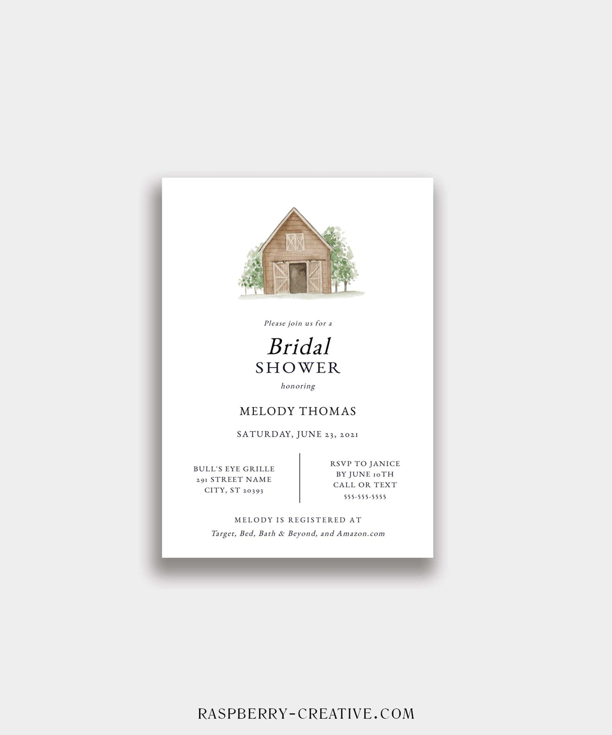 barn theme bridal shower invitation