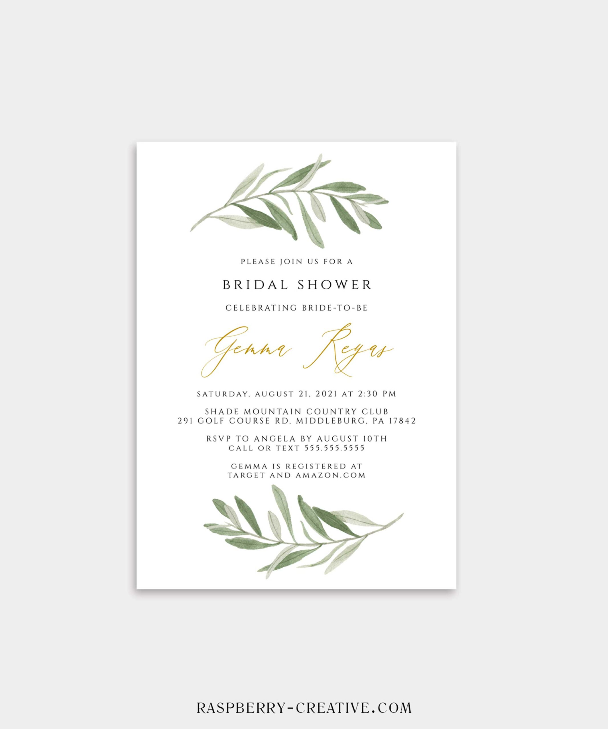 greenery branch and gold bridal shower invitation